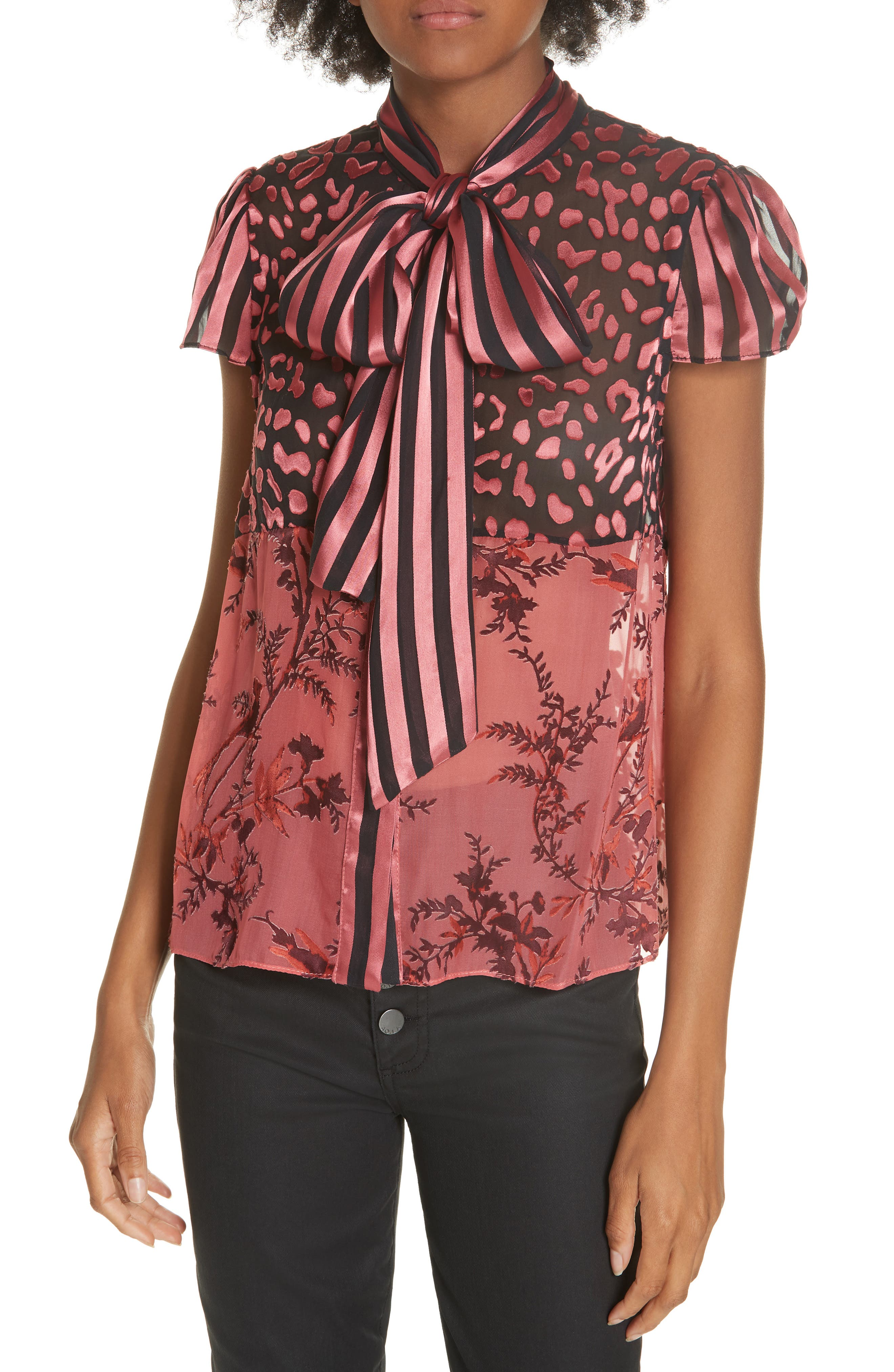 Jeannie Bow Neck Blouse,                             Main thumbnail 1, color,                             TWO TONE BIRD/ ROSE