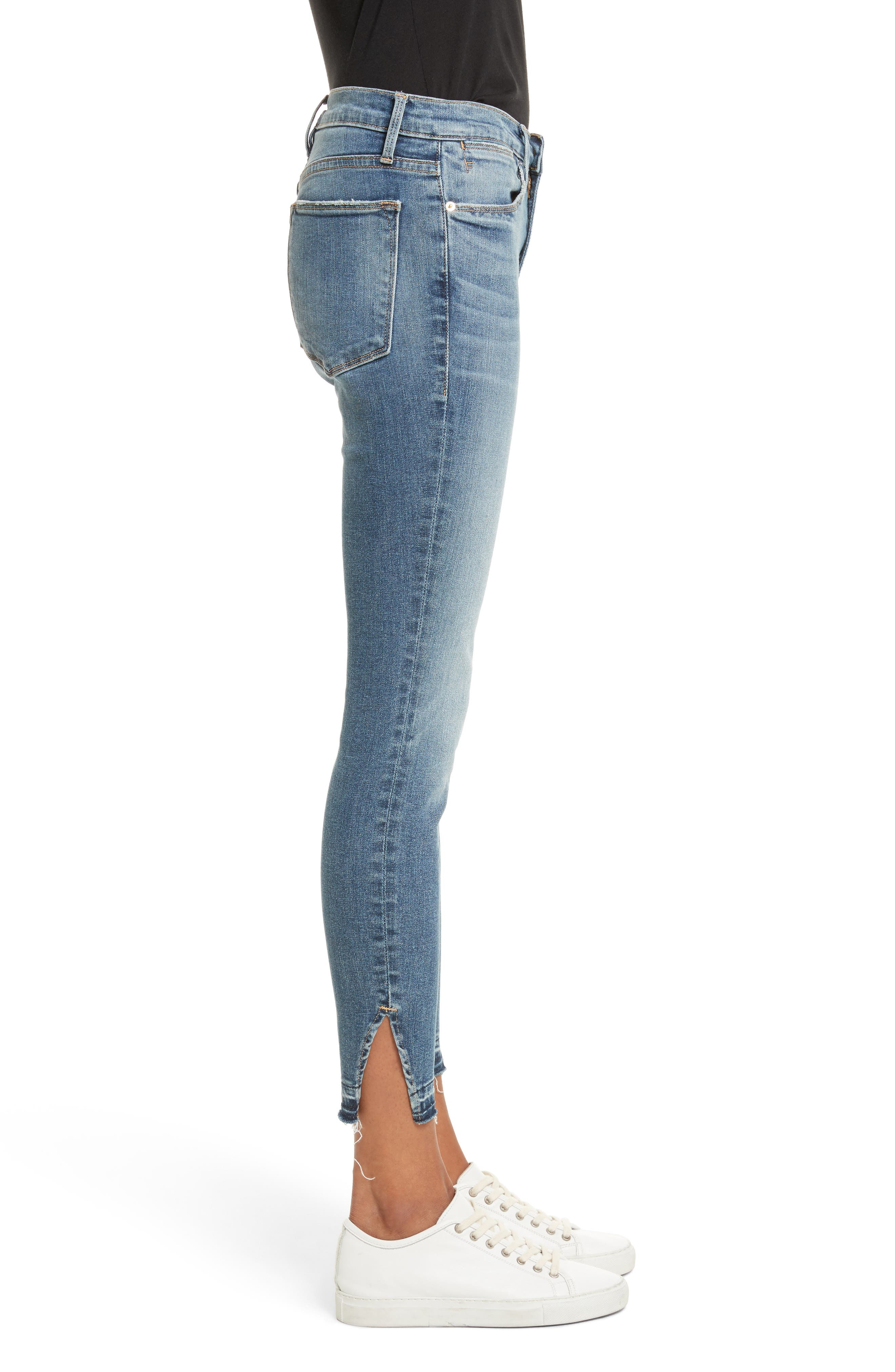 Le High Raw Hem Skinny Jeans,                             Alternate thumbnail 3, color,