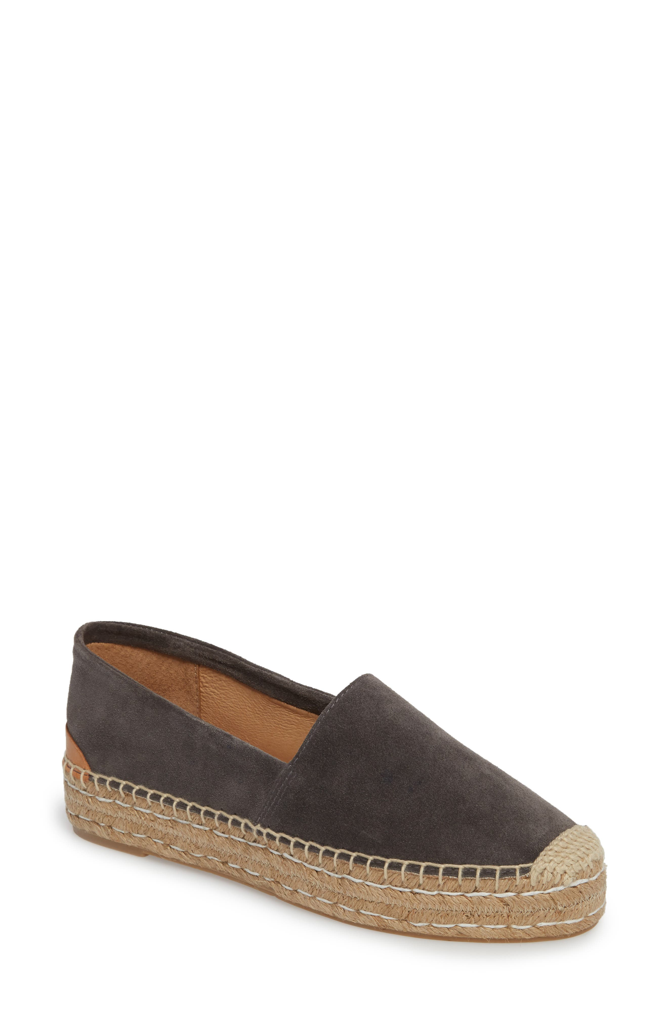 Abigail Espadrille Slip-On,                         Main,                         color, CHARCOAL SUEDE