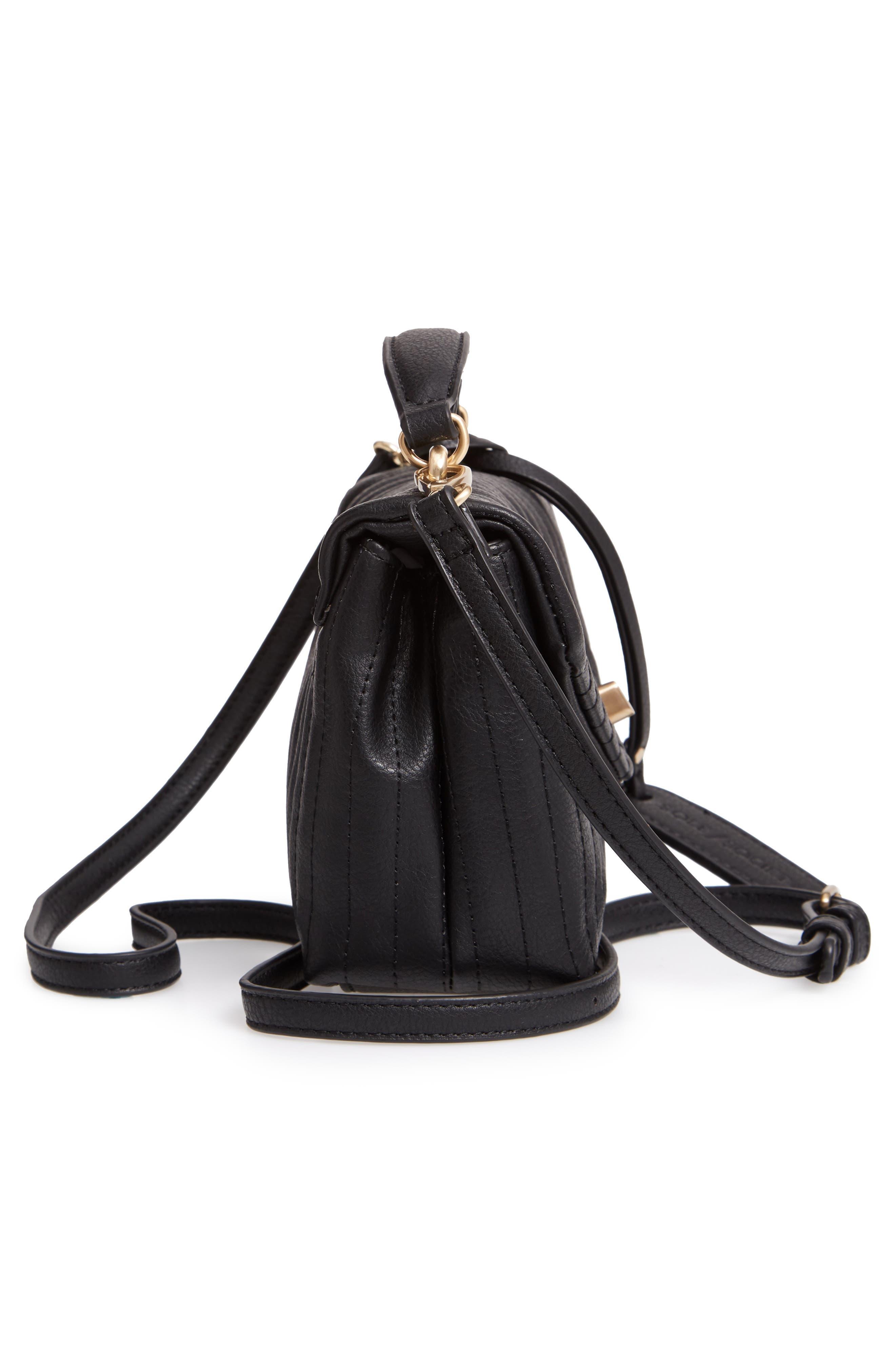 Urche Faux Leather Crossbody Bag,                             Alternate thumbnail 5, color,                             BLACK