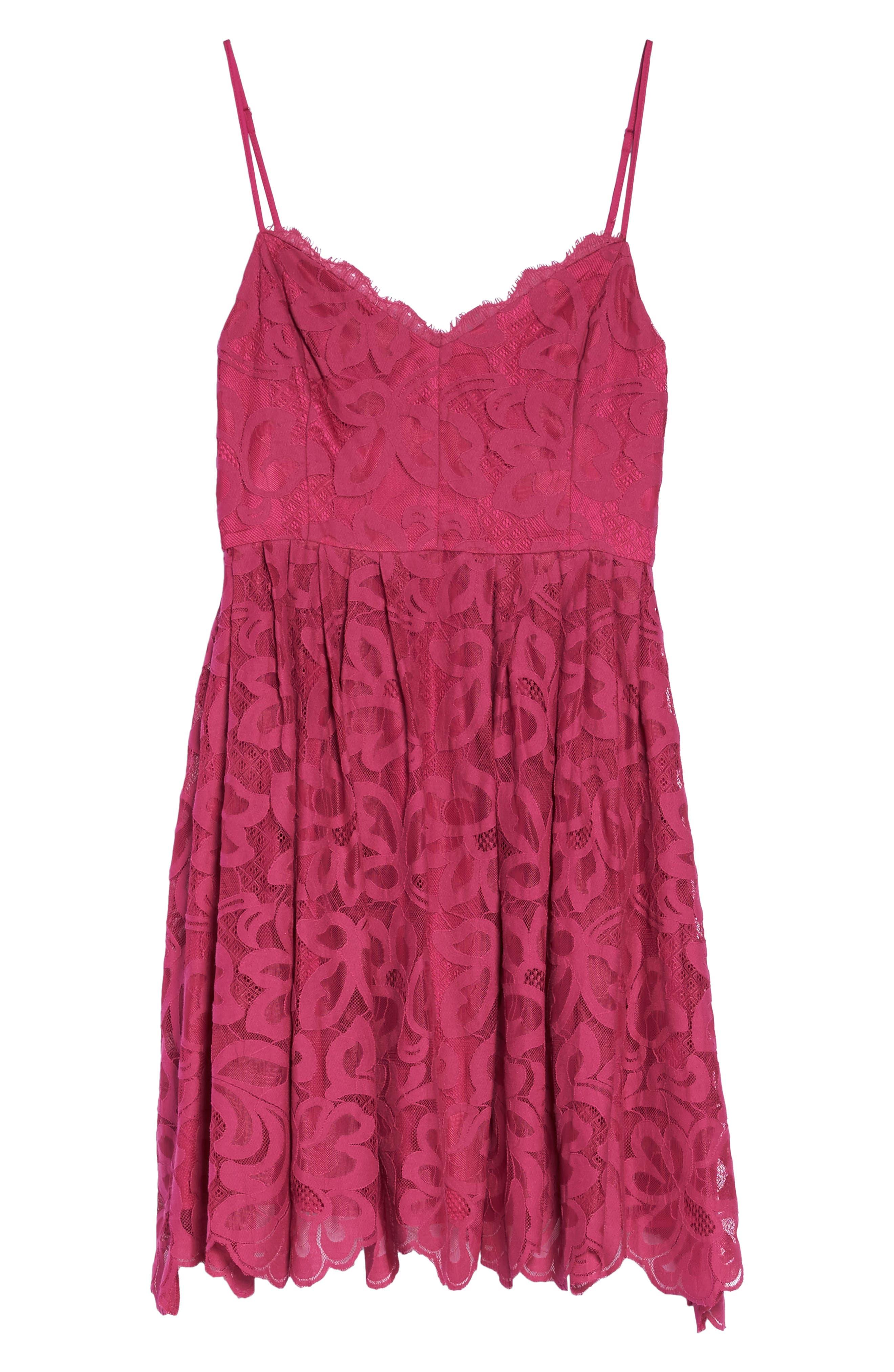 Celeste Scalloped Lace Fit & Flare Dress,                             Alternate thumbnail 6, color,