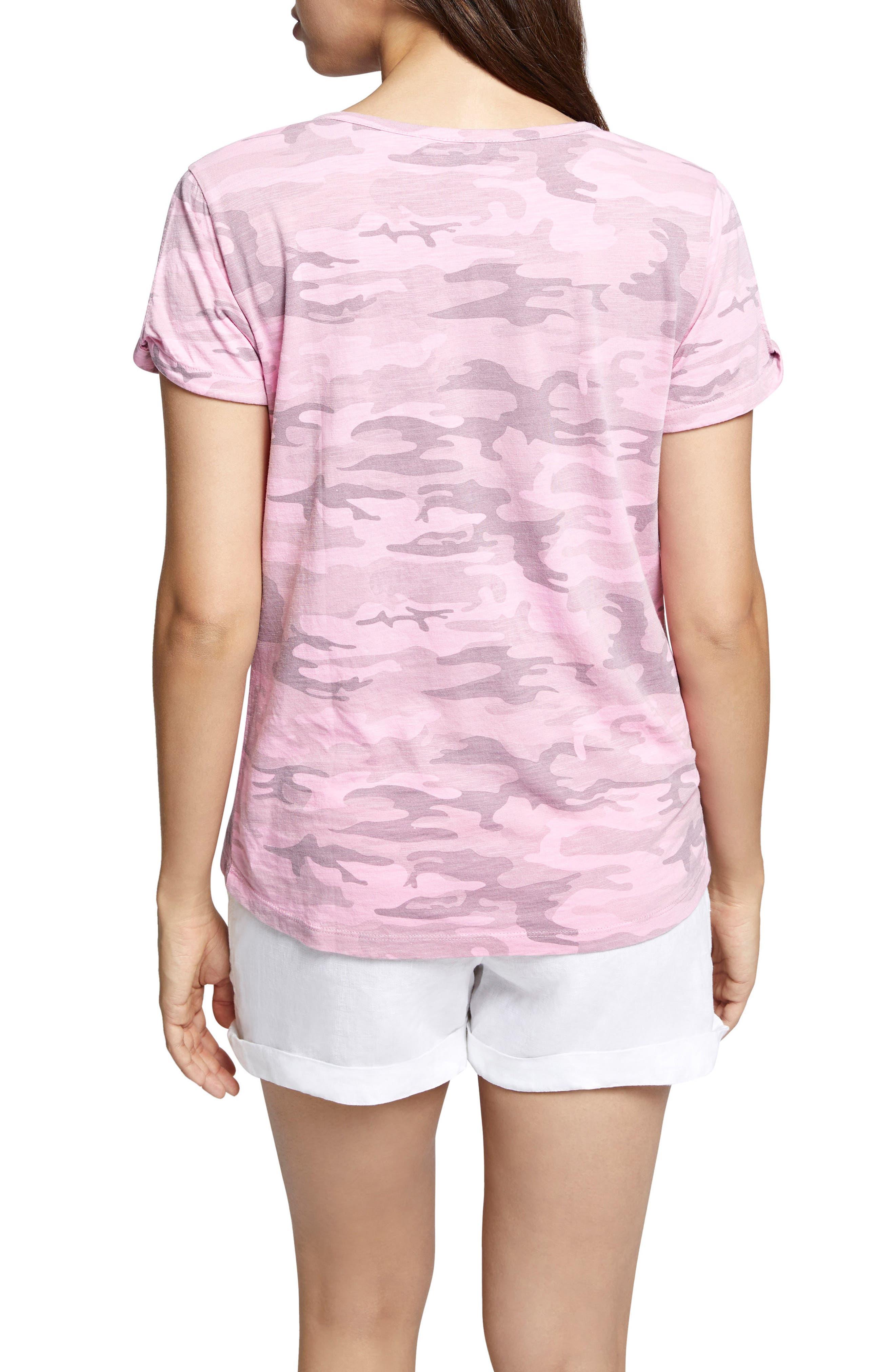 Camo Twist Sleeve Cotton Blend Tee,                             Alternate thumbnail 4, color,