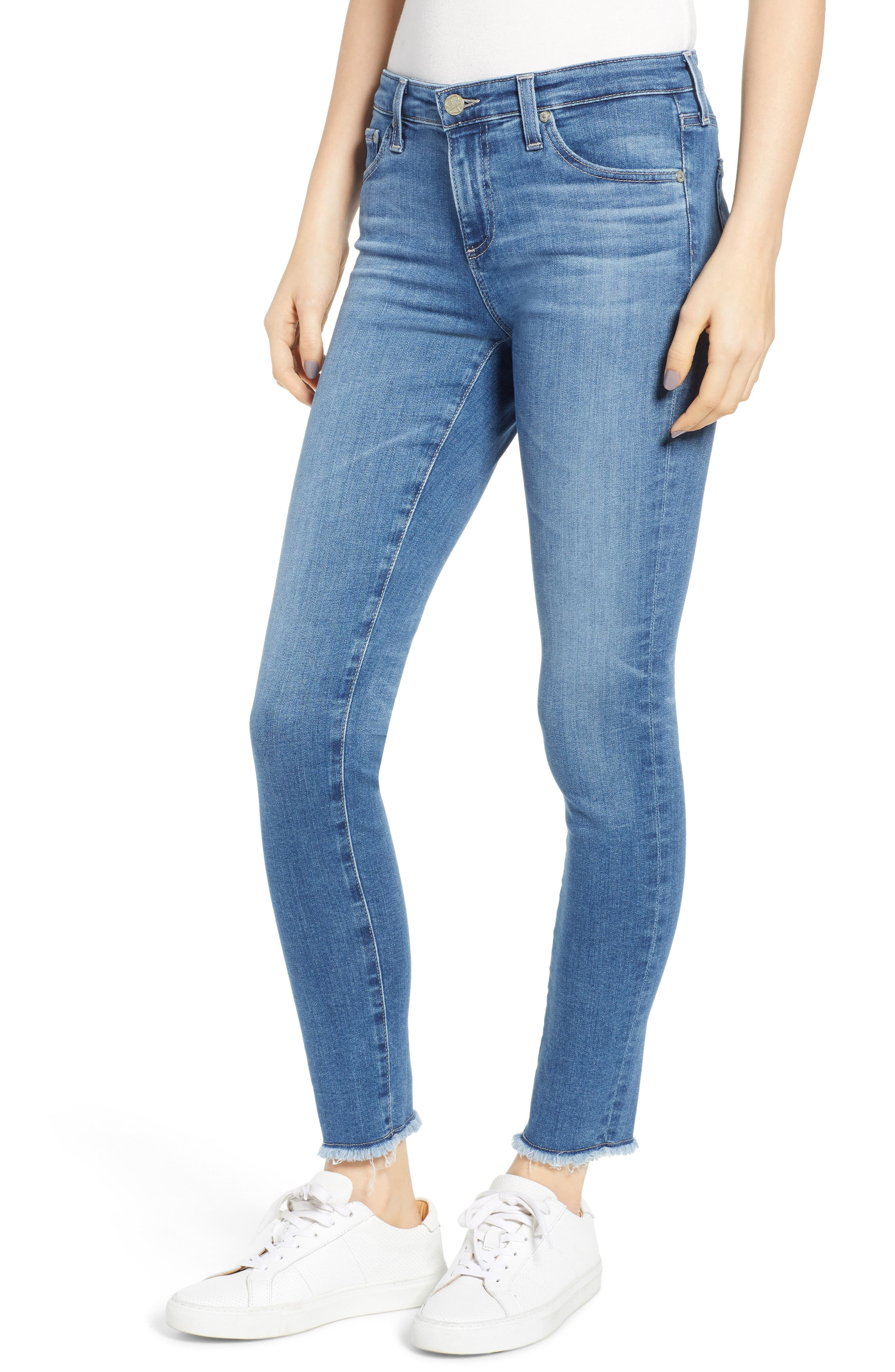 AG,                             The Legging Frayed Ankle Super Skinny Jeans,                             Main thumbnail 1, color,                             15 YEAR AFFINITY