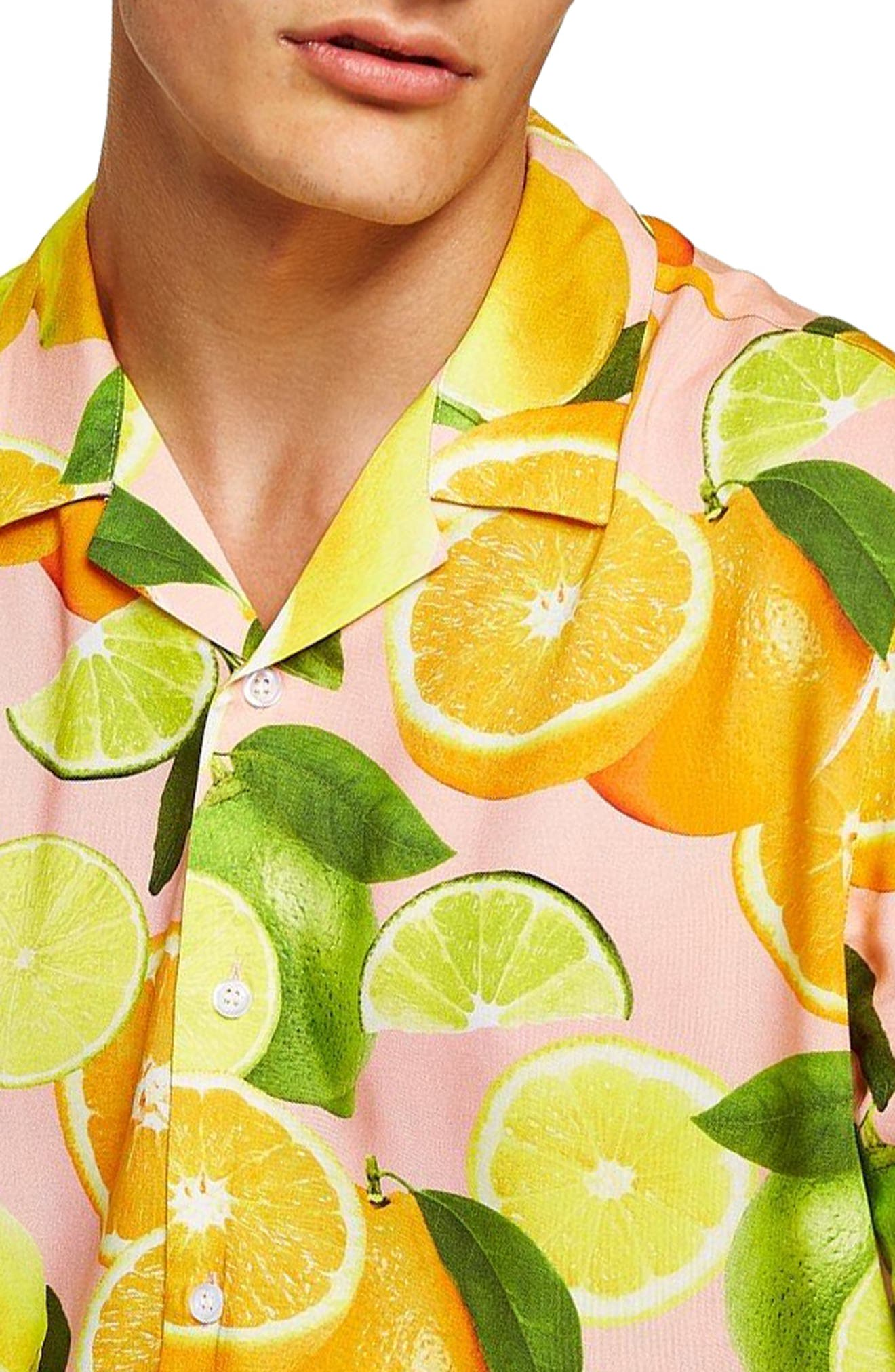 Lemon Print Camp Shirt,                             Alternate thumbnail 2, color,                             650