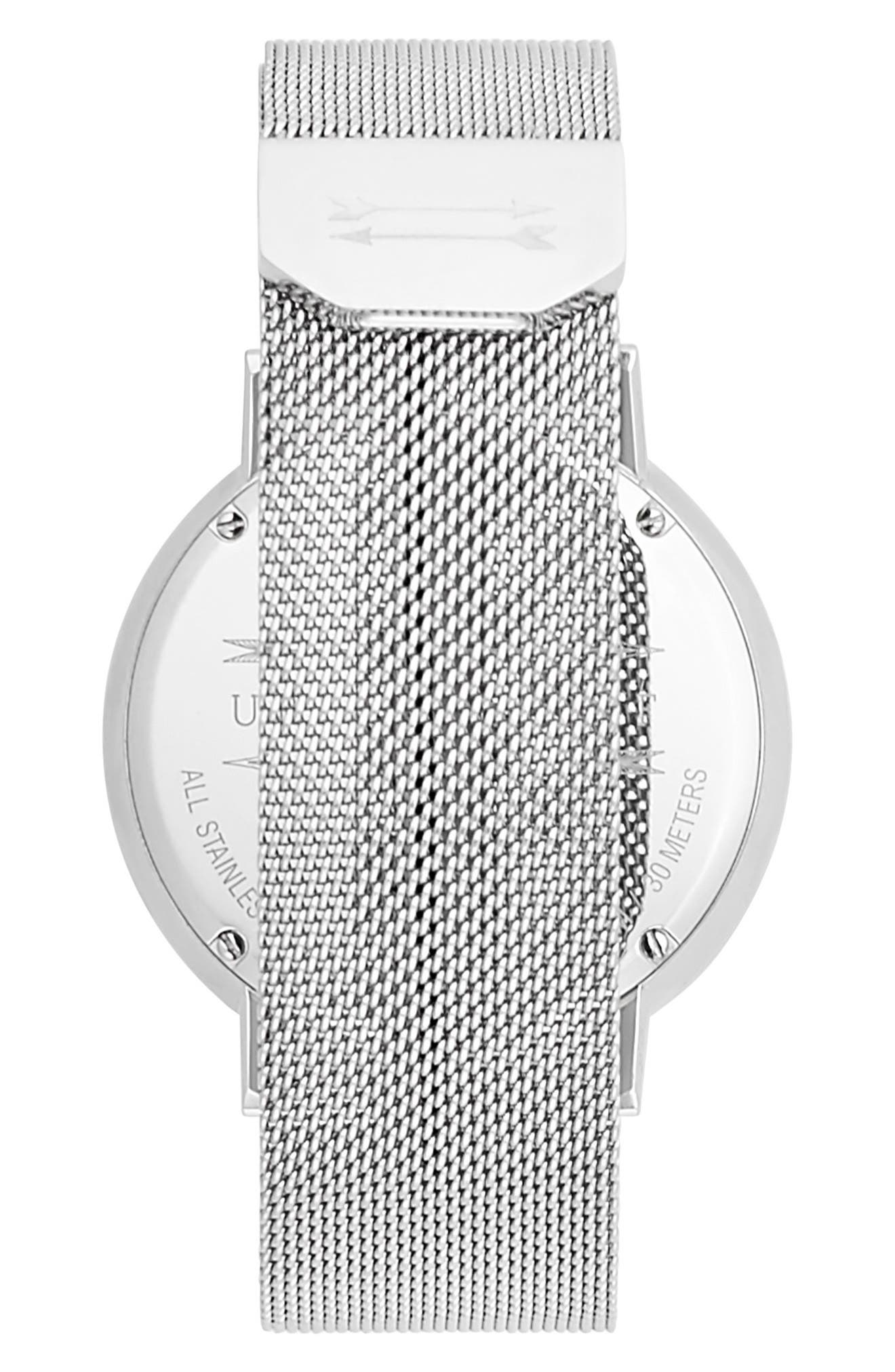 Griffith Mesh Strap Watch, 43mm,                             Alternate thumbnail 2, color,                             SILVER/ WHITE/ SILVER