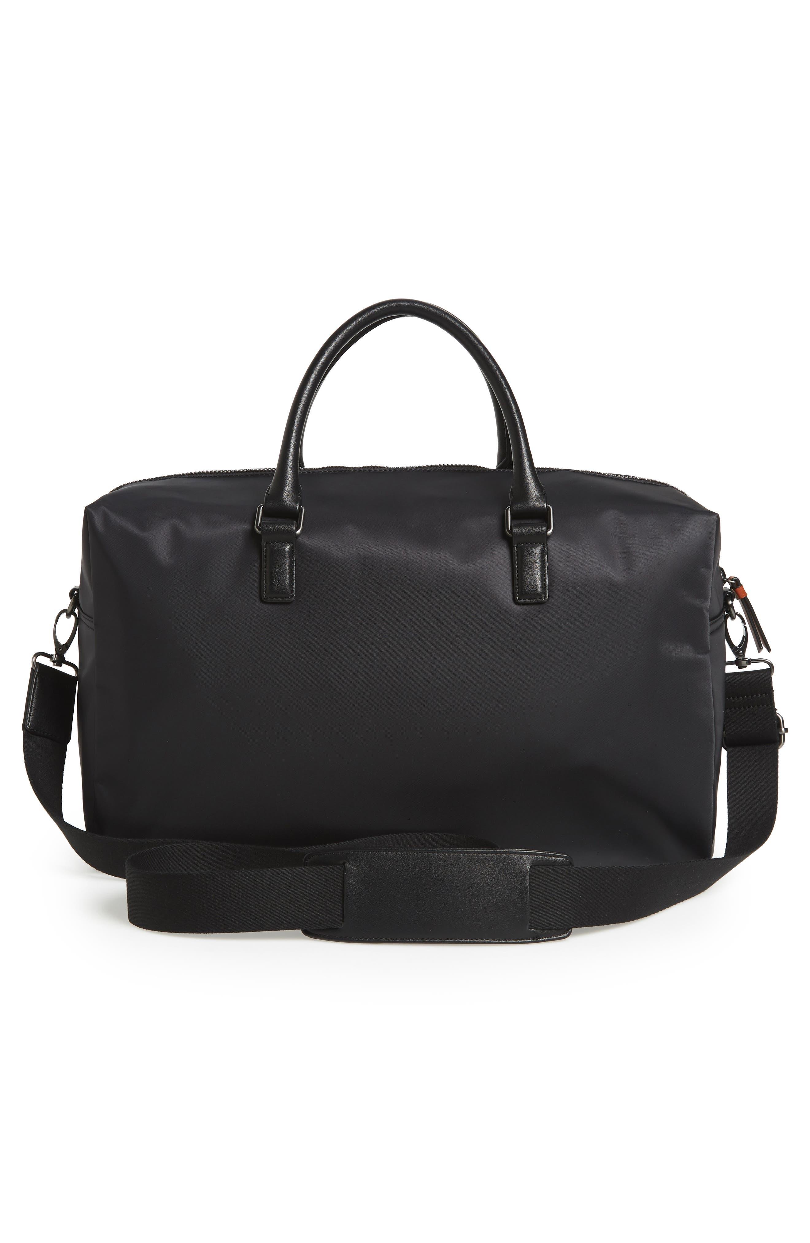 Nylon Duffel Bag,                             Alternate thumbnail 3, color,                             BLACK