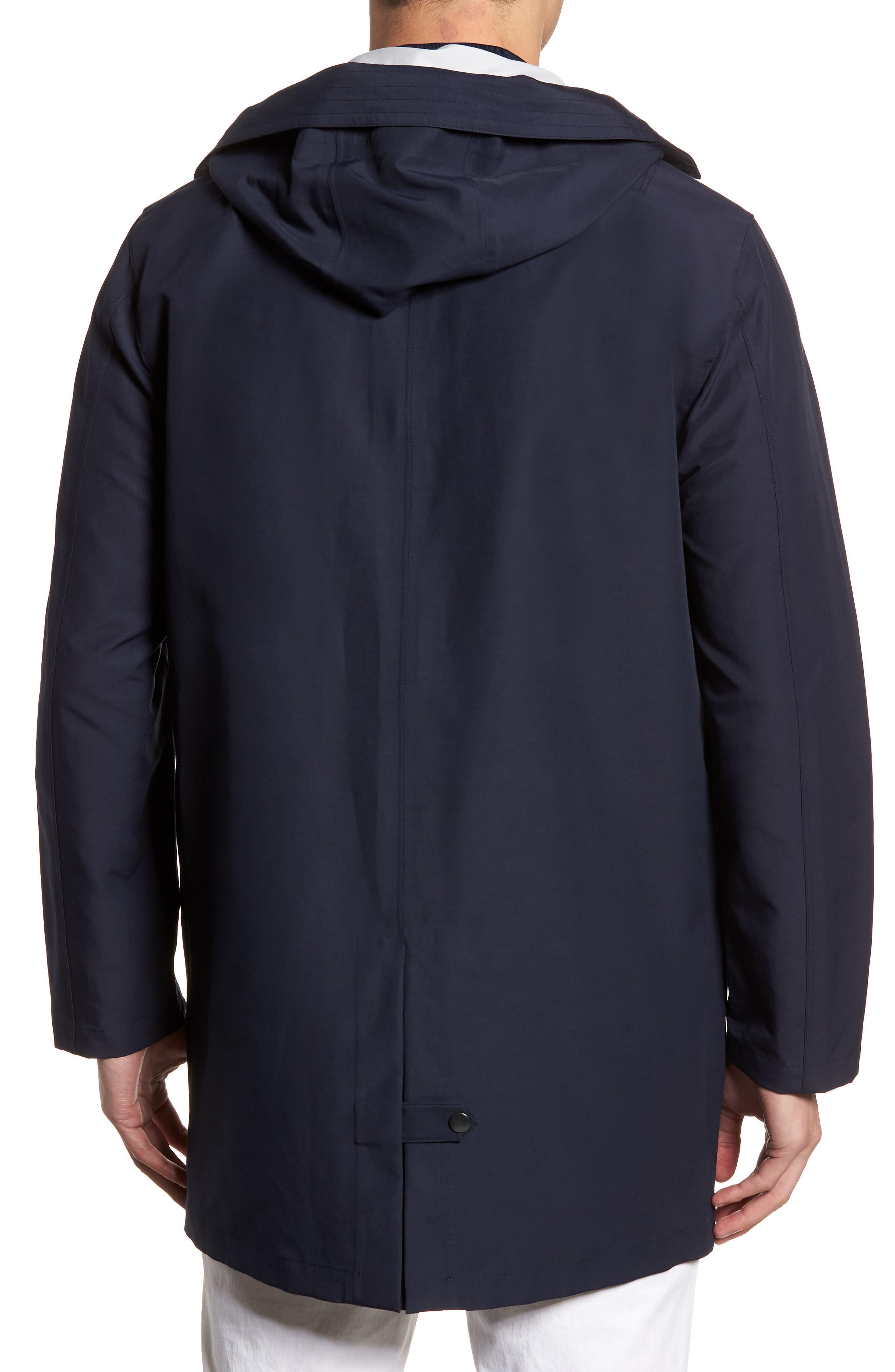 Bonded Cotton Blend Rain Jacket,                             Alternate thumbnail 2, color,                             NAVY
