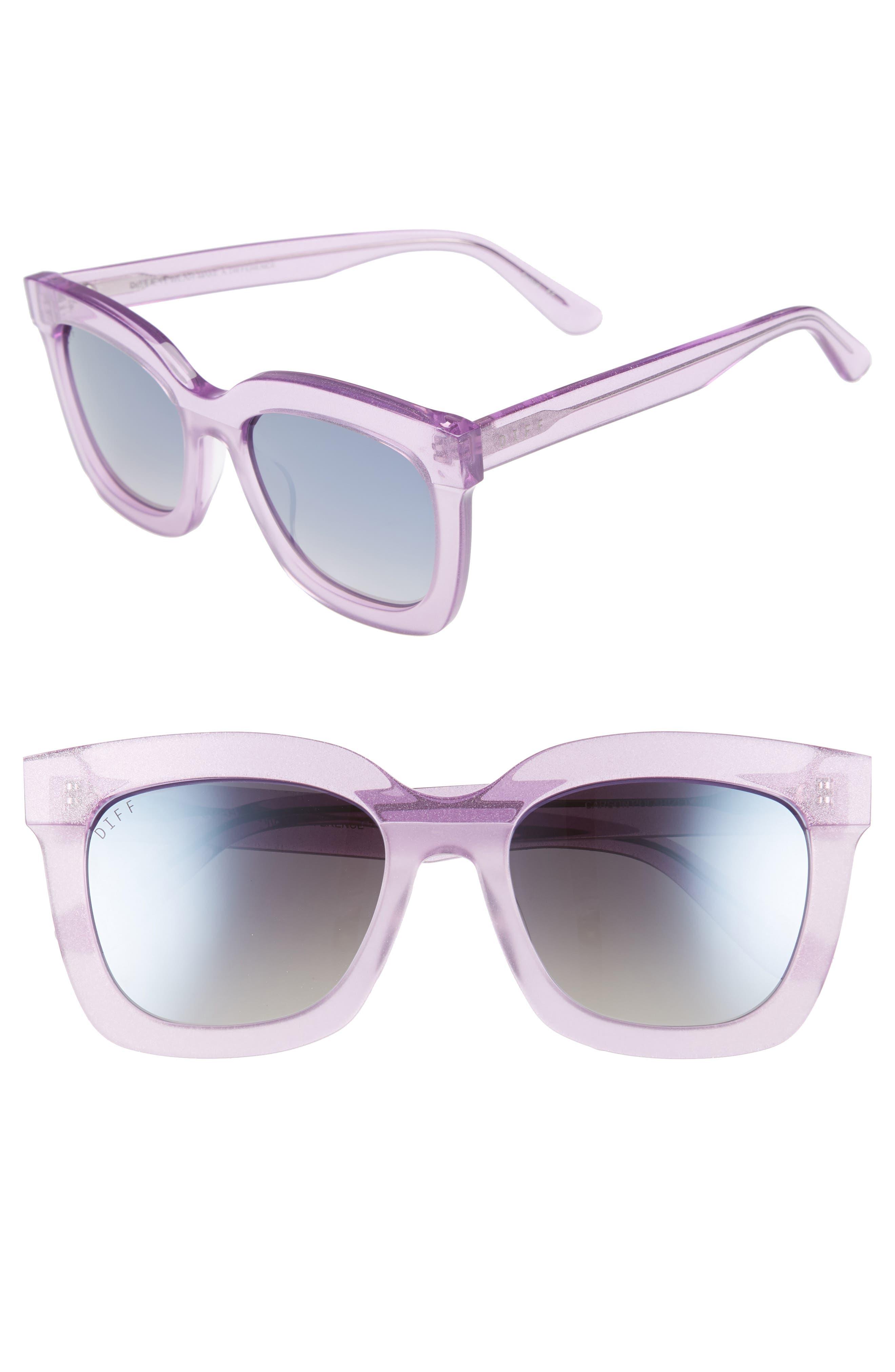 Diff Carson 5m Polarized Square Sunglasses - Amethyst Glitter/ Smoke