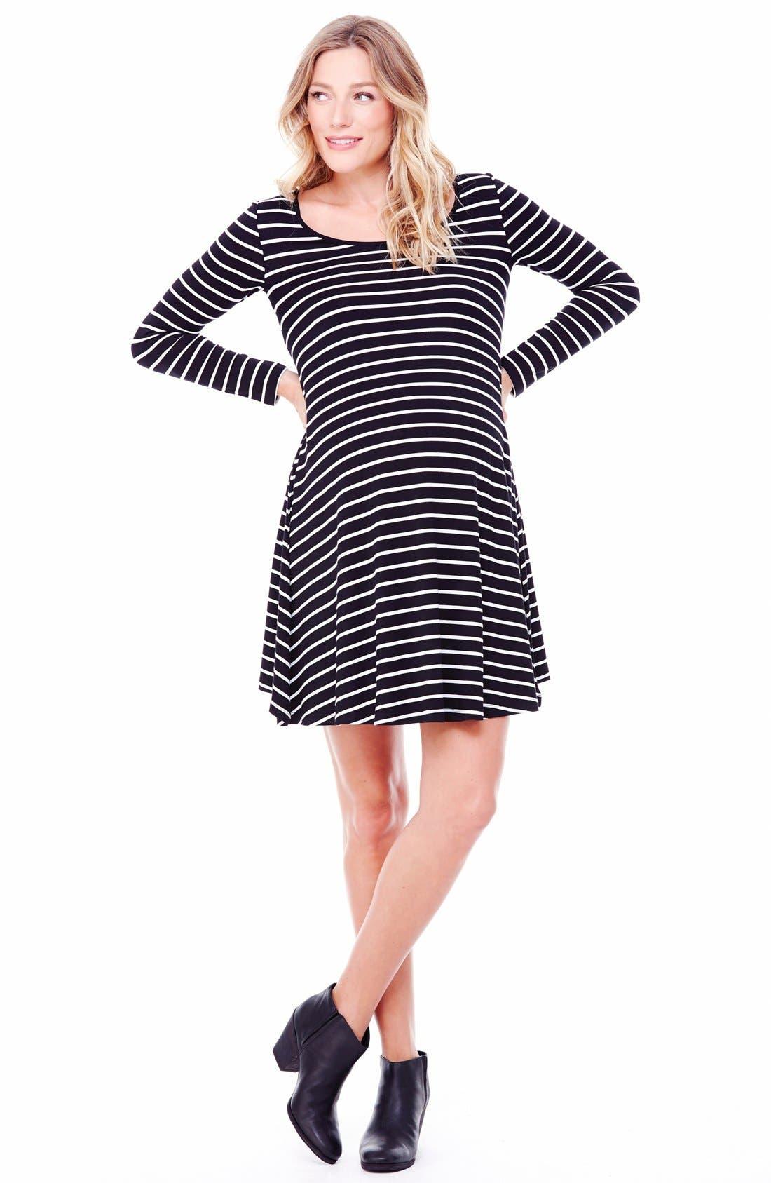 Striped Maternity Trapeze Dress,                             Alternate thumbnail 3, color,                             011