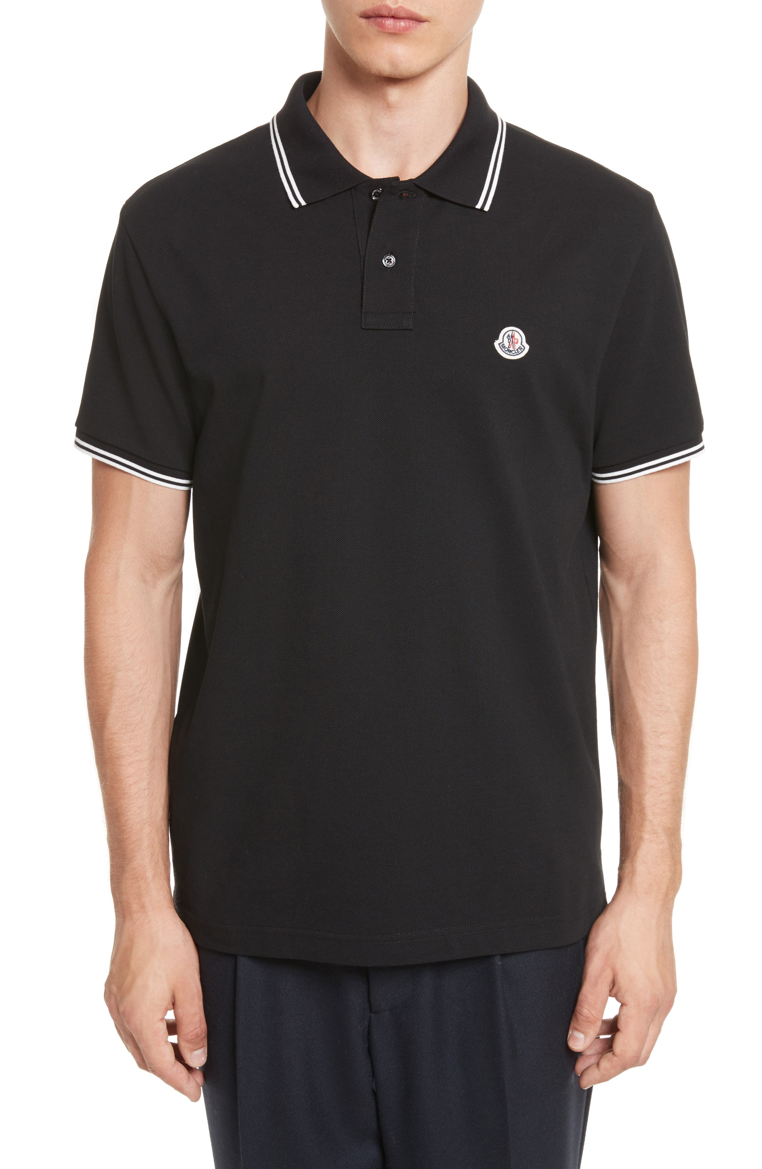 Striped Collar Polo Shirt,                         Main,                         color, 001