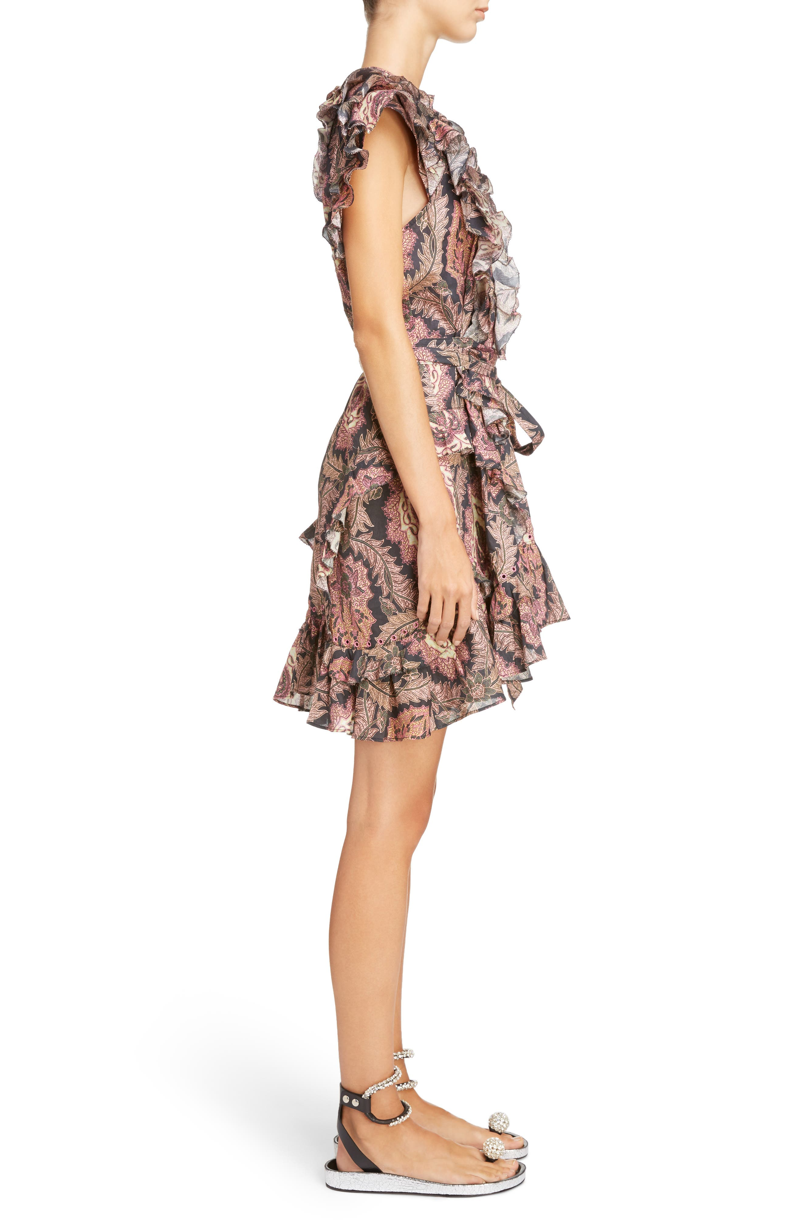 Paisley Print Ruffle Trim Dress,                             Alternate thumbnail 3, color,                             600