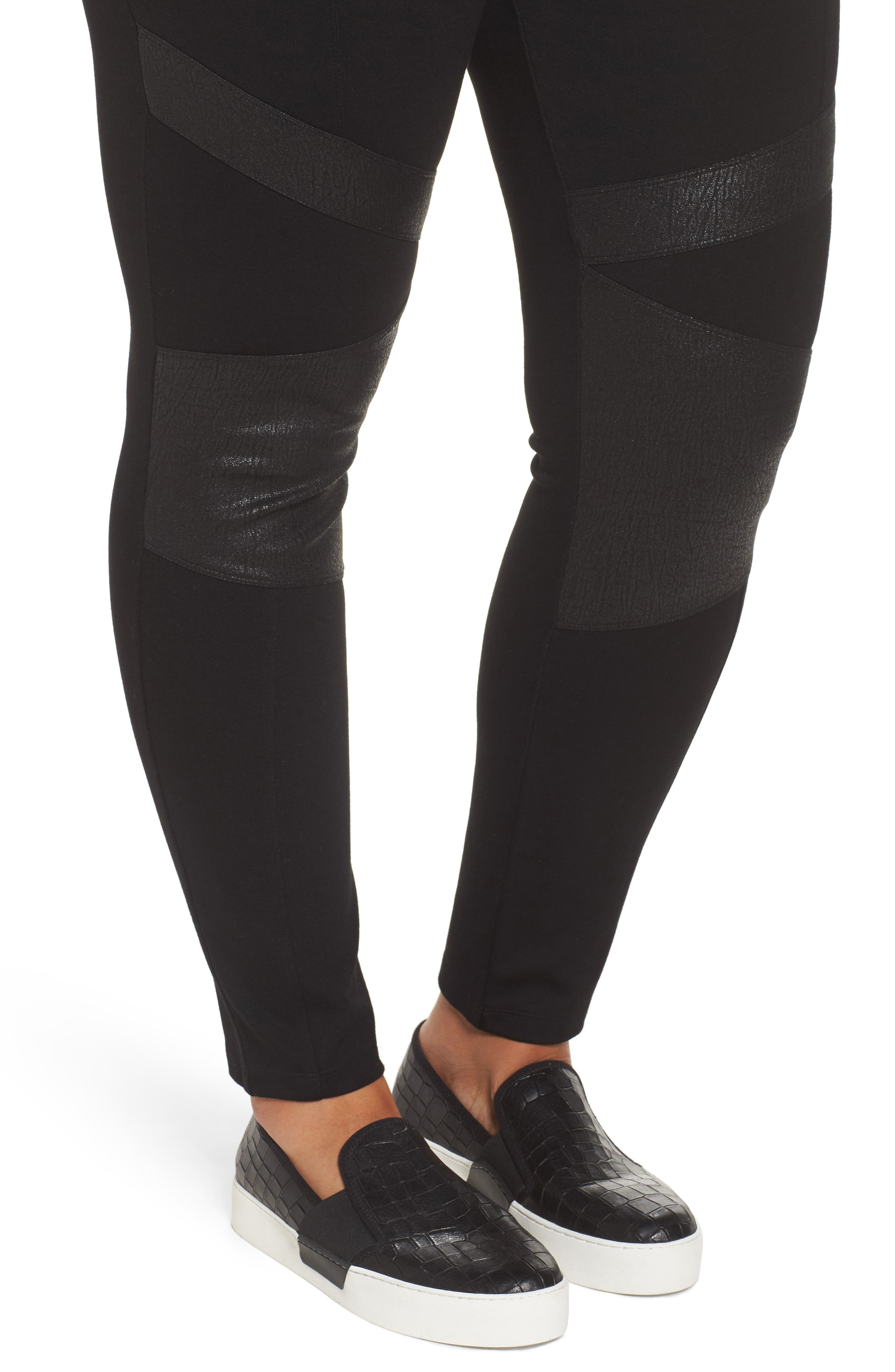 TWO BY VINCE CAMUTO,                             High Rise Lacquer Inset Moto Leggings,                             Alternate thumbnail 4, color,                             RICH BLACK