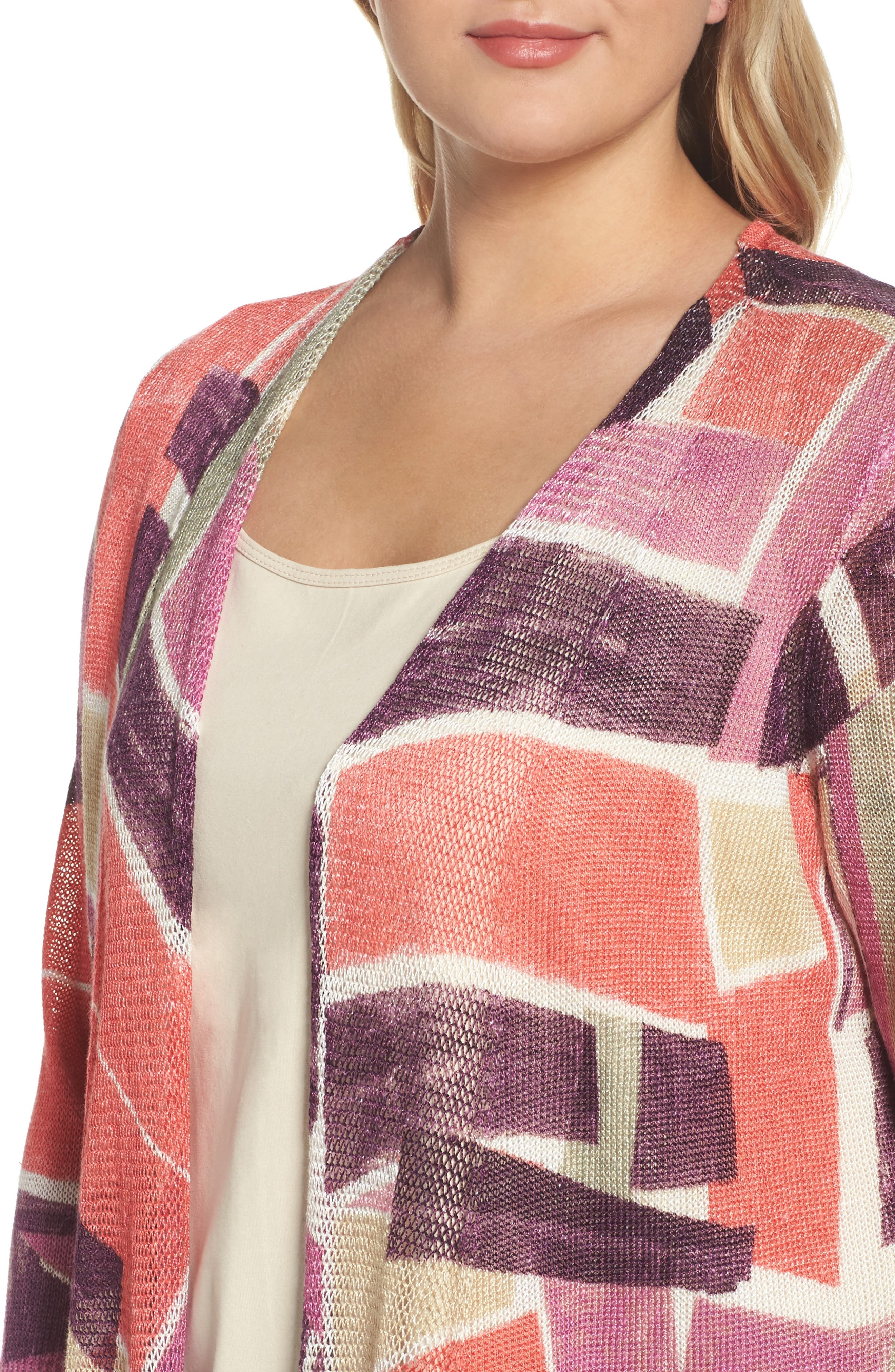 Bold Blocked Drape Front Cardigan,                             Alternate thumbnail 4, color,                             MULTI
