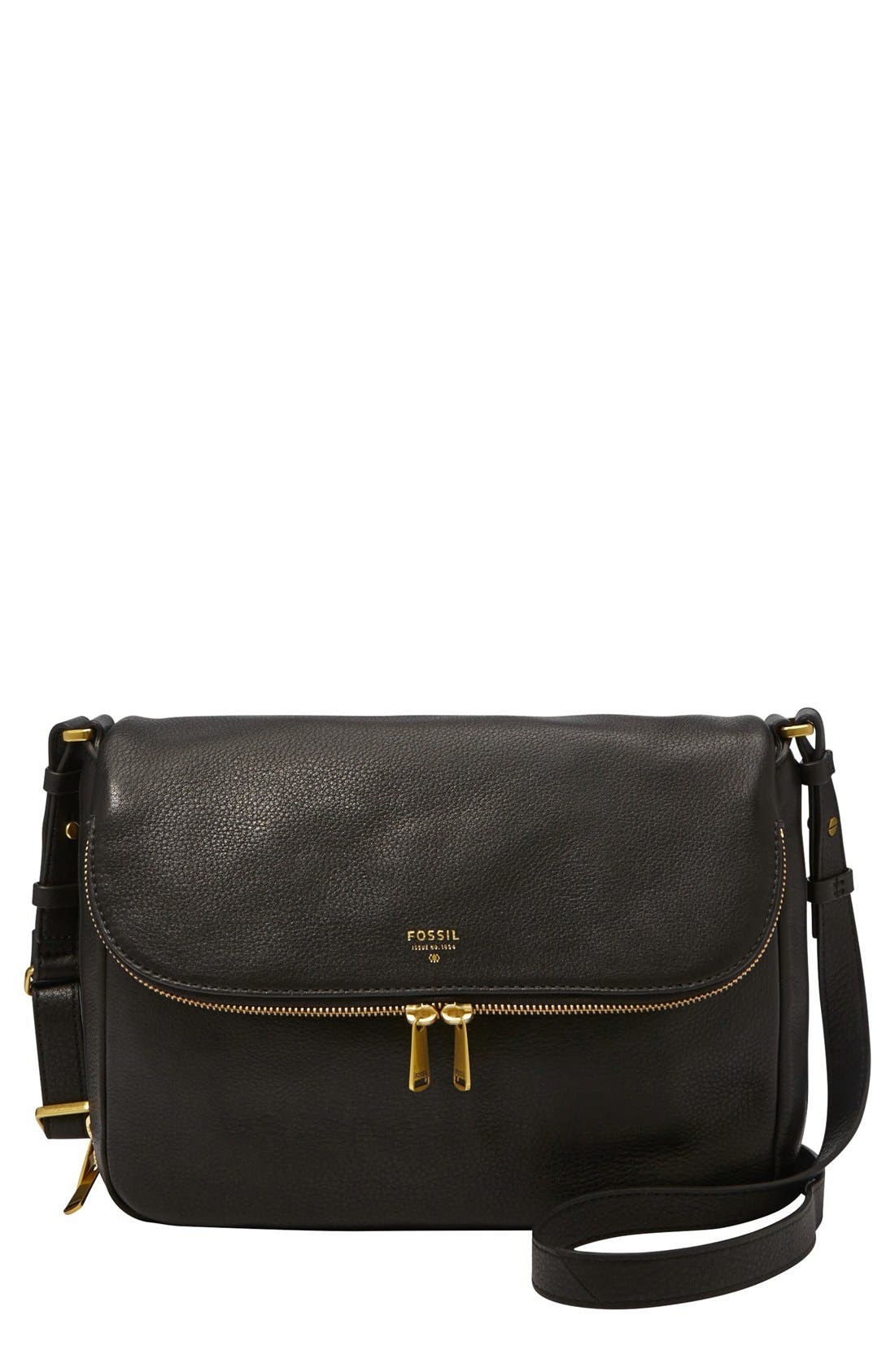 FOSSIL 'Preston' Leather Shoulder Bag, Main, color, 001