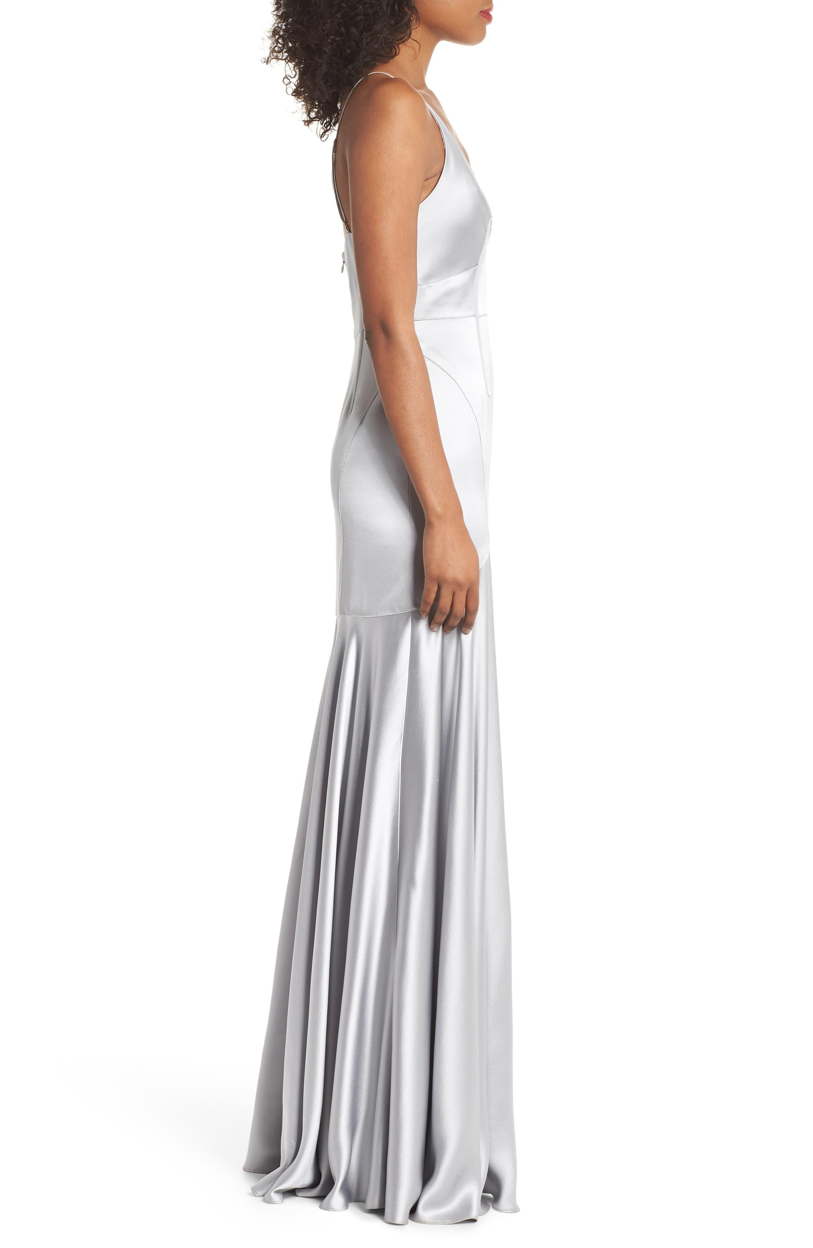Corset Detail Satin Gown,                             Alternate thumbnail 3, color,                             MERCURY