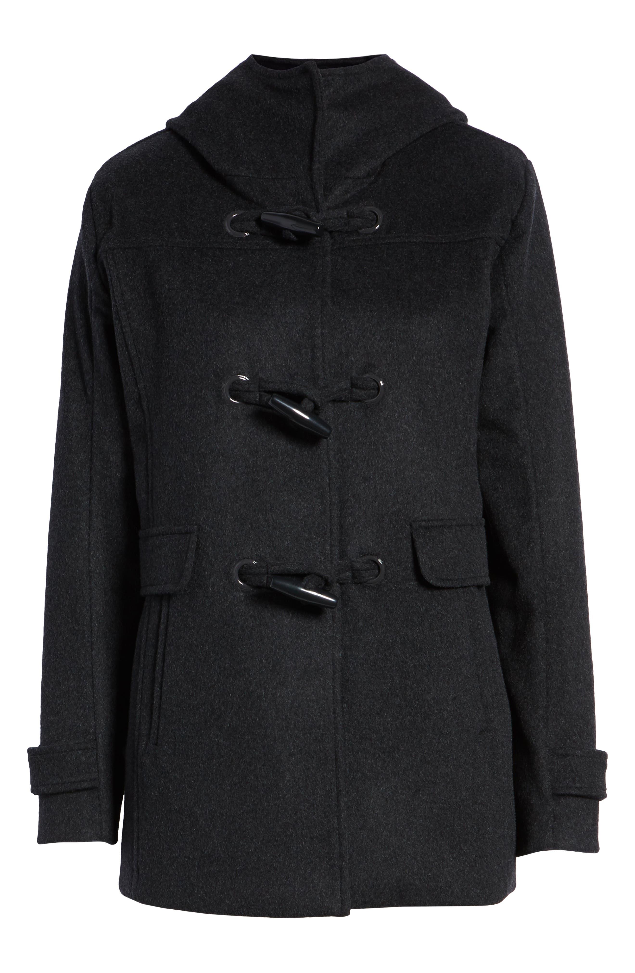 Roslyn Waterproof Lambswool Blend Hooded Coat,                             Alternate thumbnail 6, color,                             CHARCOAL