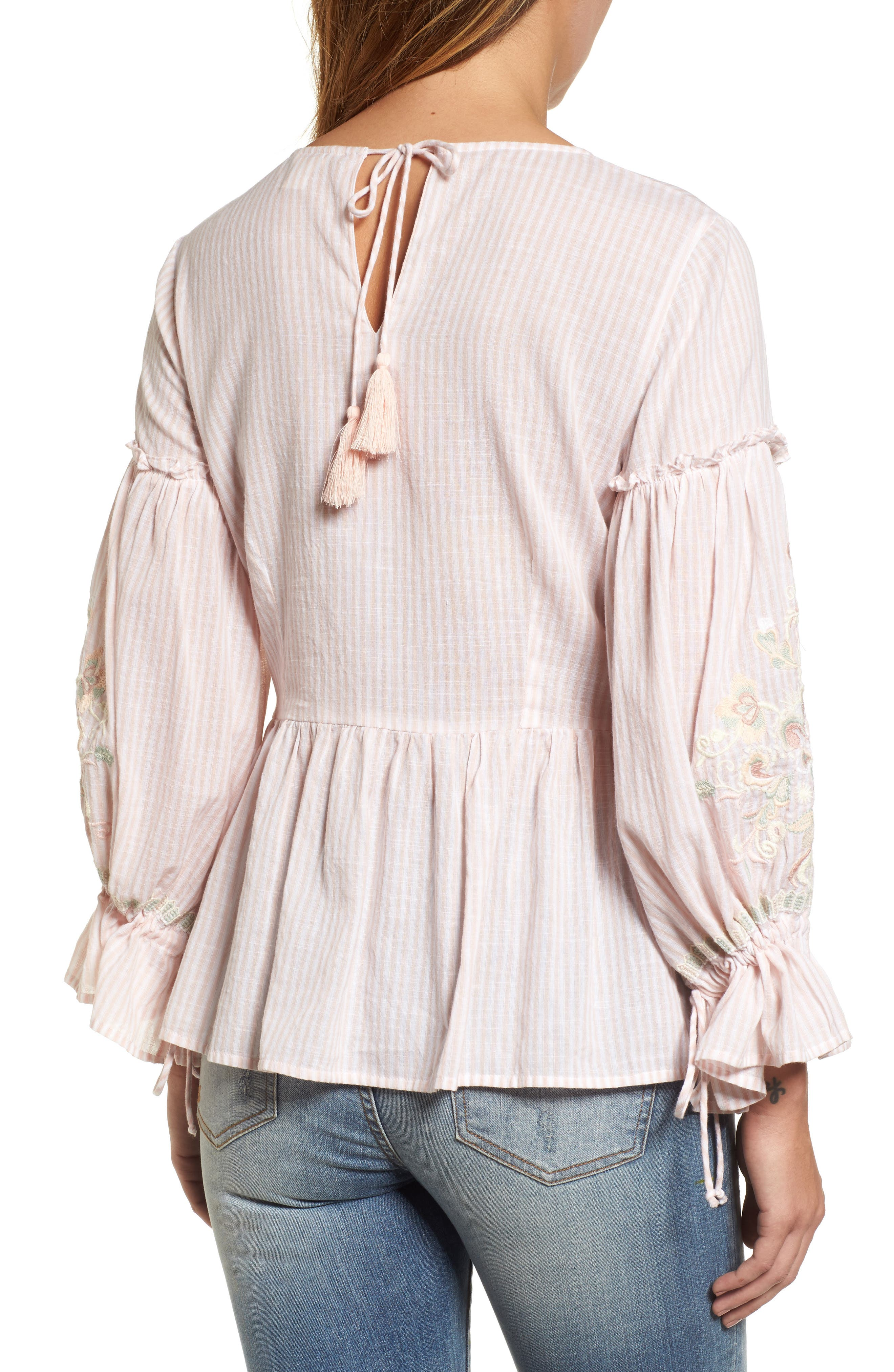Embroidered Sleeve Top,                             Alternate thumbnail 4, color,