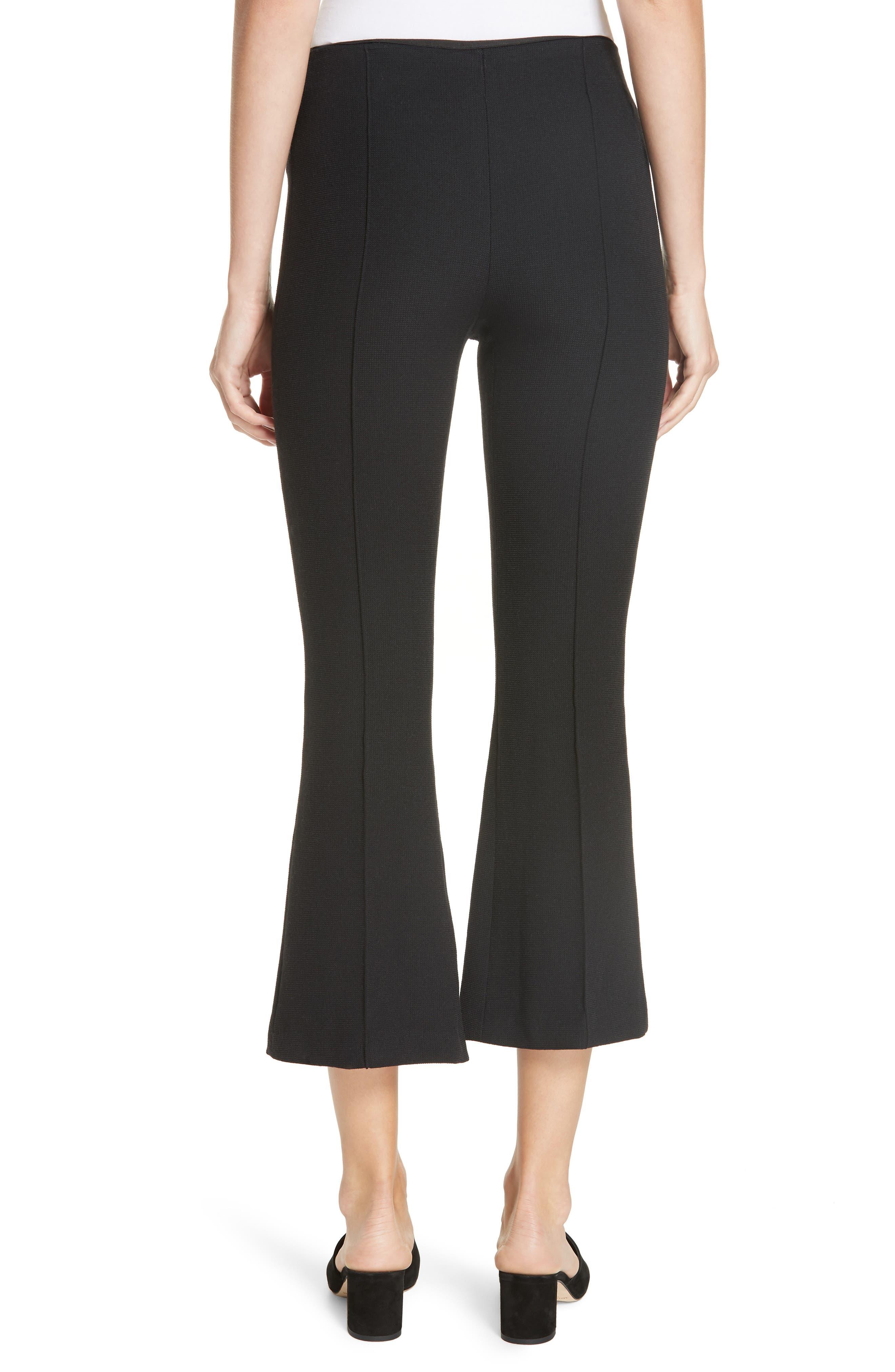 Pull-On Wool Blend Crop Flare Pants,                             Alternate thumbnail 2, color,                             BLACK PIQUE