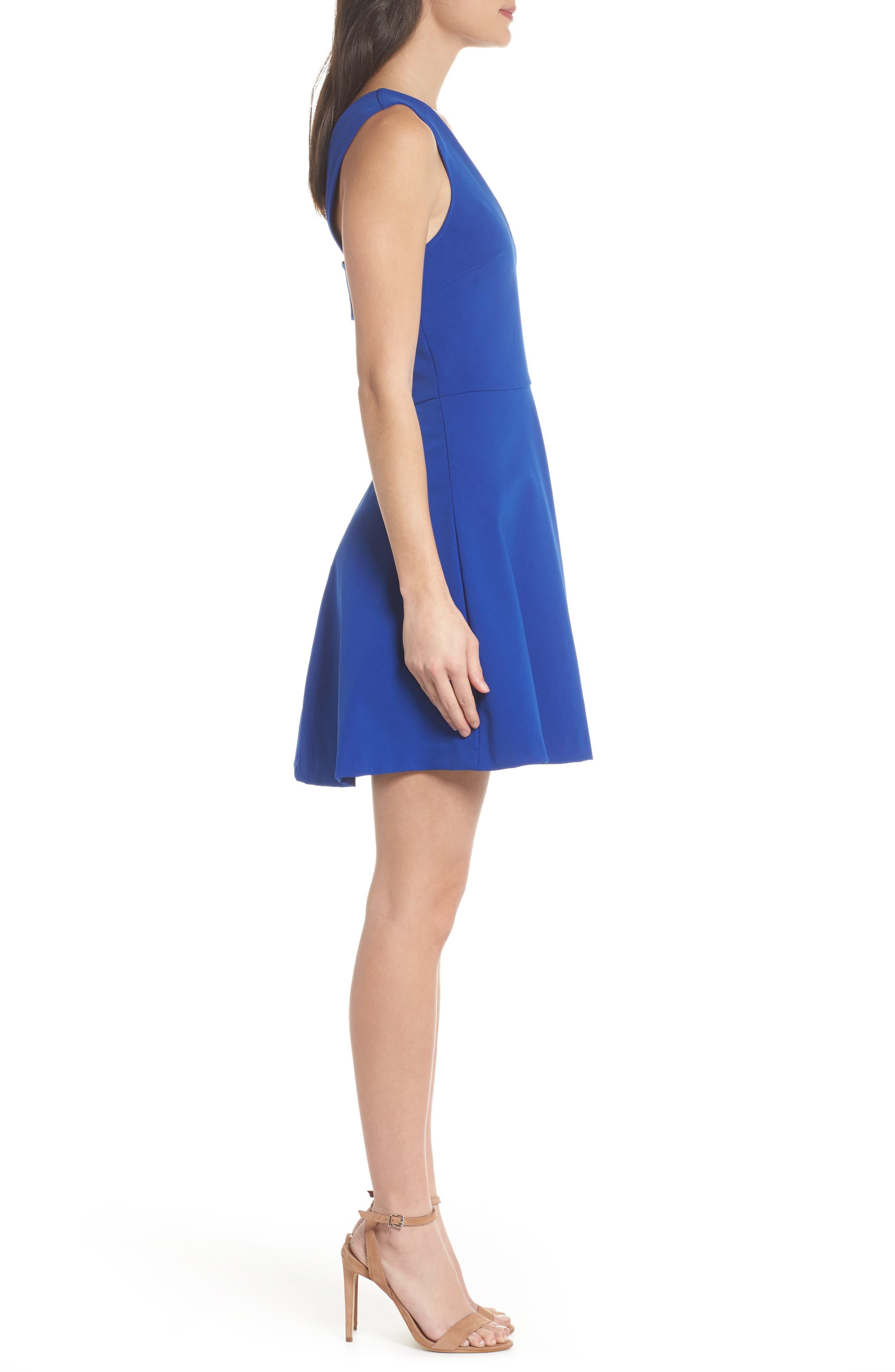 Bianca Back Cutout Fit & Flare Dress,                             Alternate thumbnail 4, color,                             COBALT