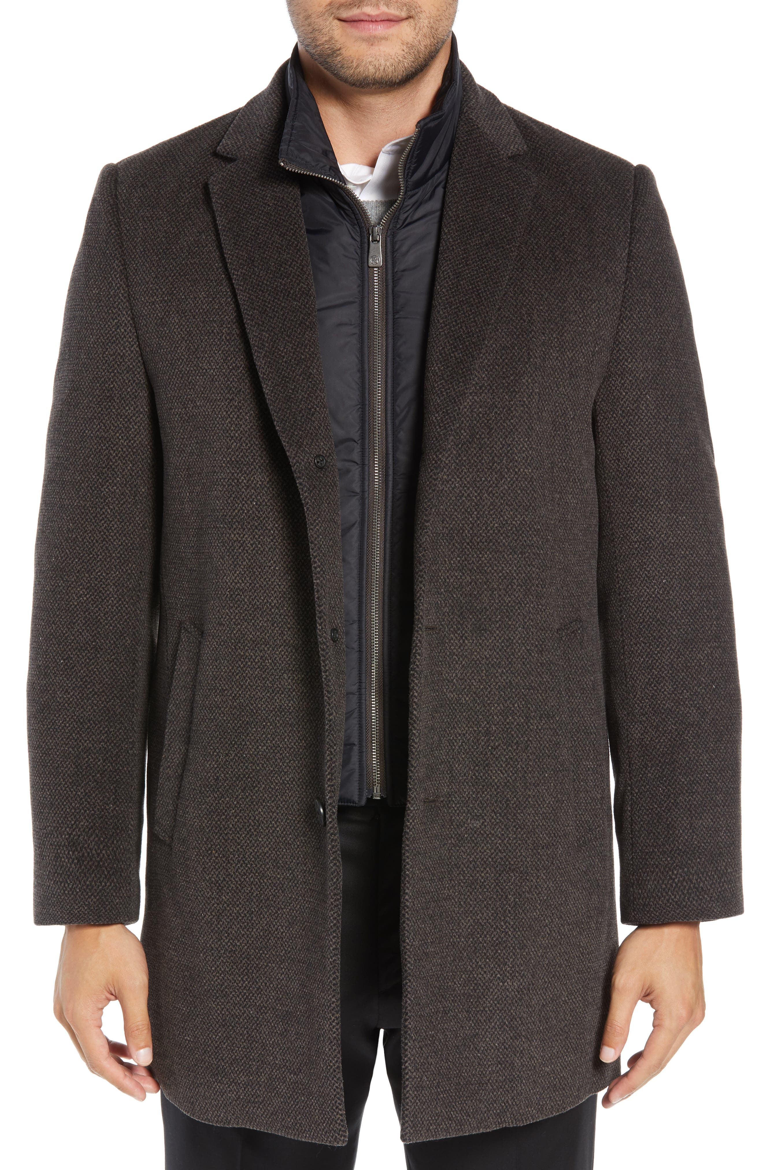 Kingman Modern Fit Wool Blend Coat with Removable Zipper Bib,                         Main,                         color,