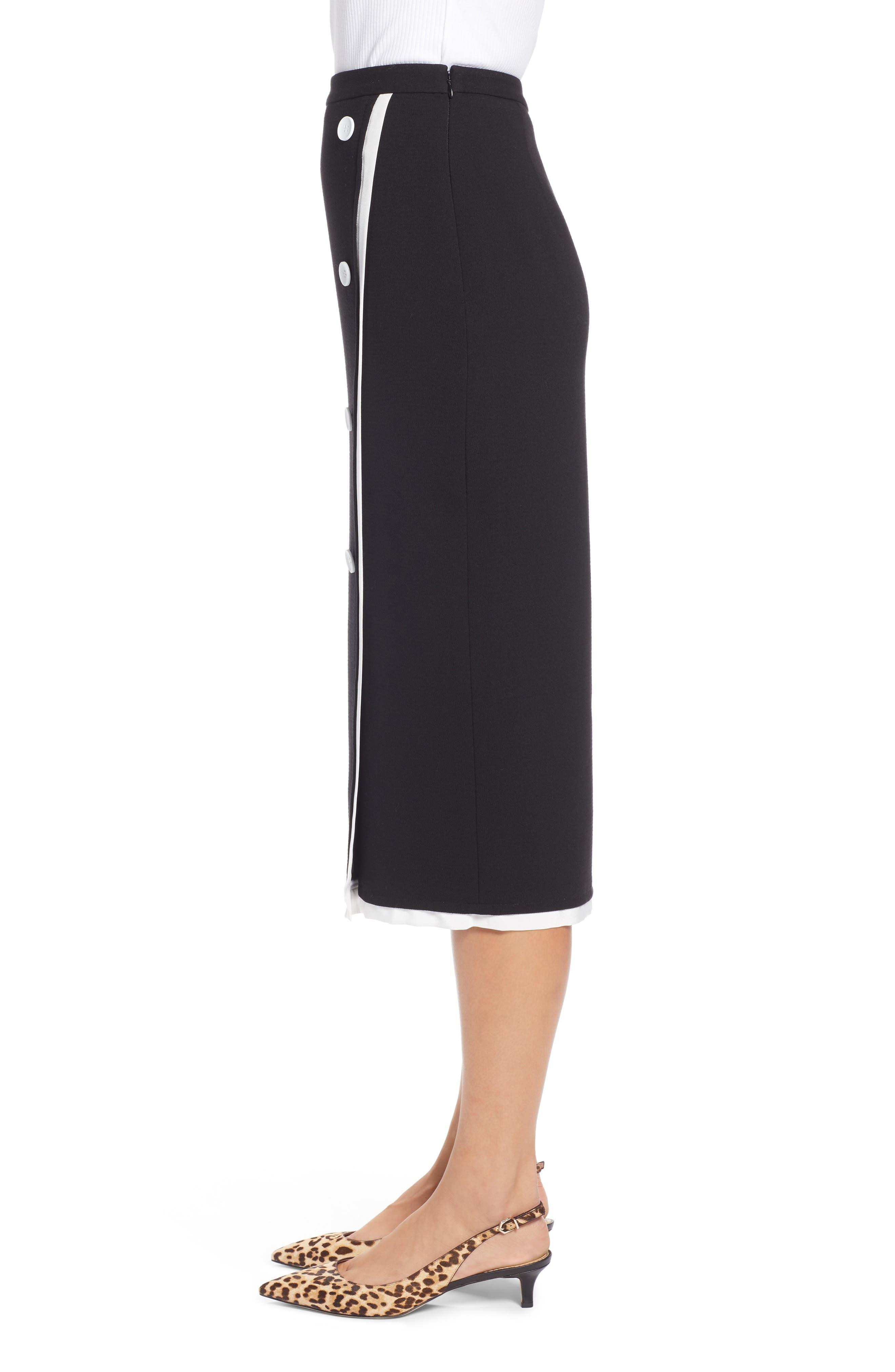 Button Detail Pencil Skirt,                             Alternate thumbnail 3, color,                             001