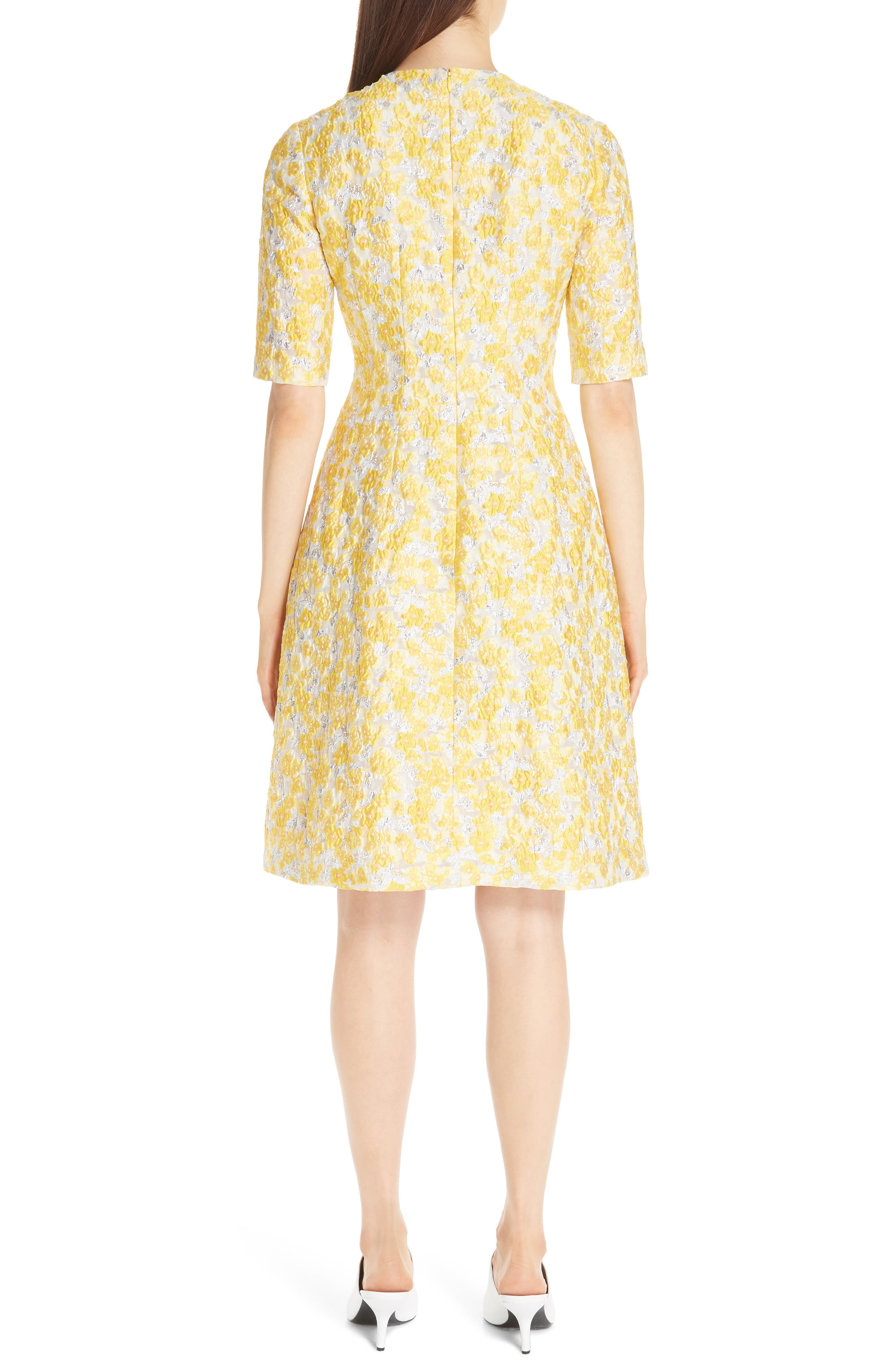 Holly Metallic Floral Fil Coupé Fit & Flare Dress,                             Alternate thumbnail 2, color,                             YELLOW