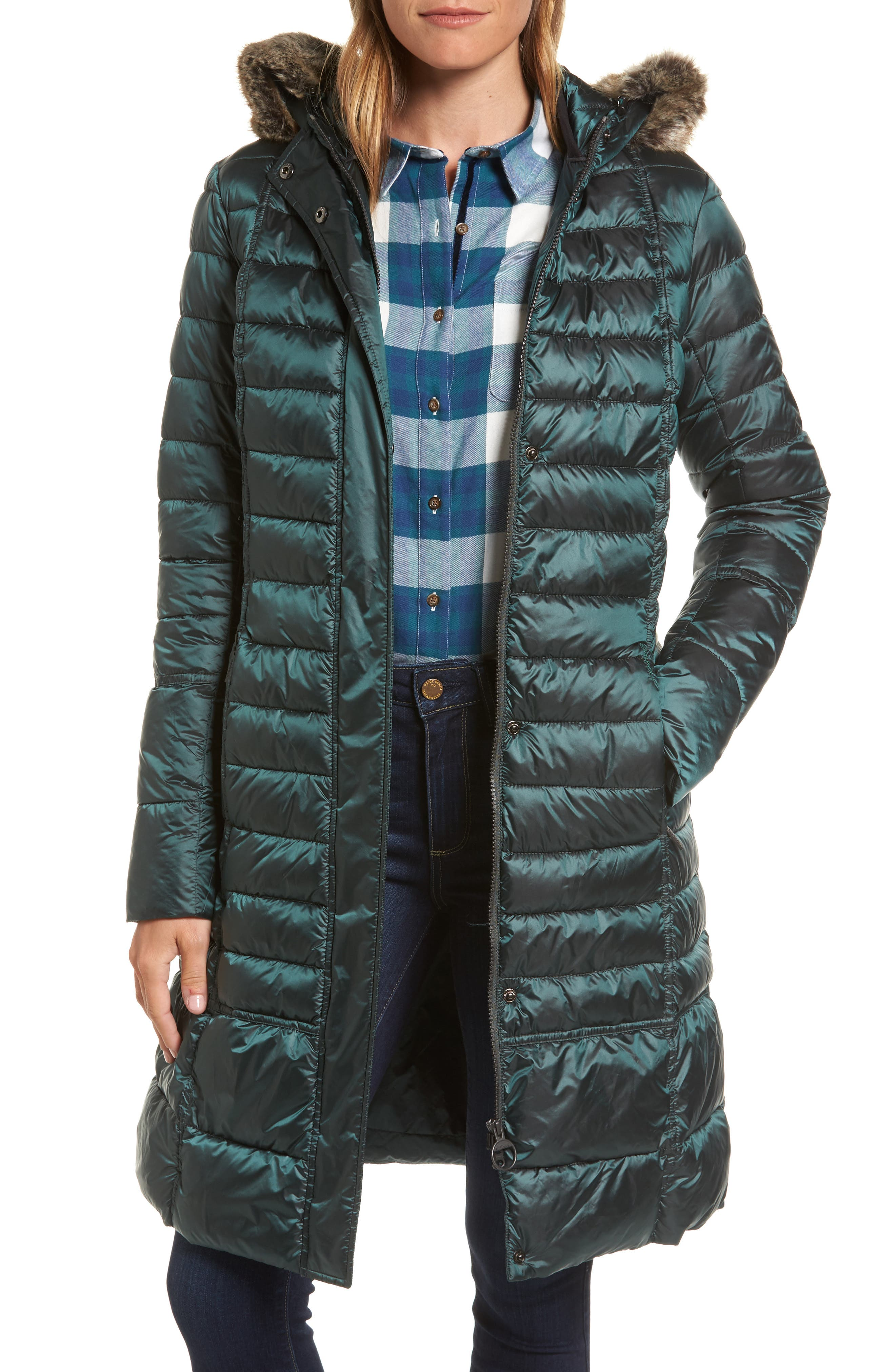 Fortrose Hooded Quilted Coat with Faux Fur Trim,                             Main thumbnail 2, color,