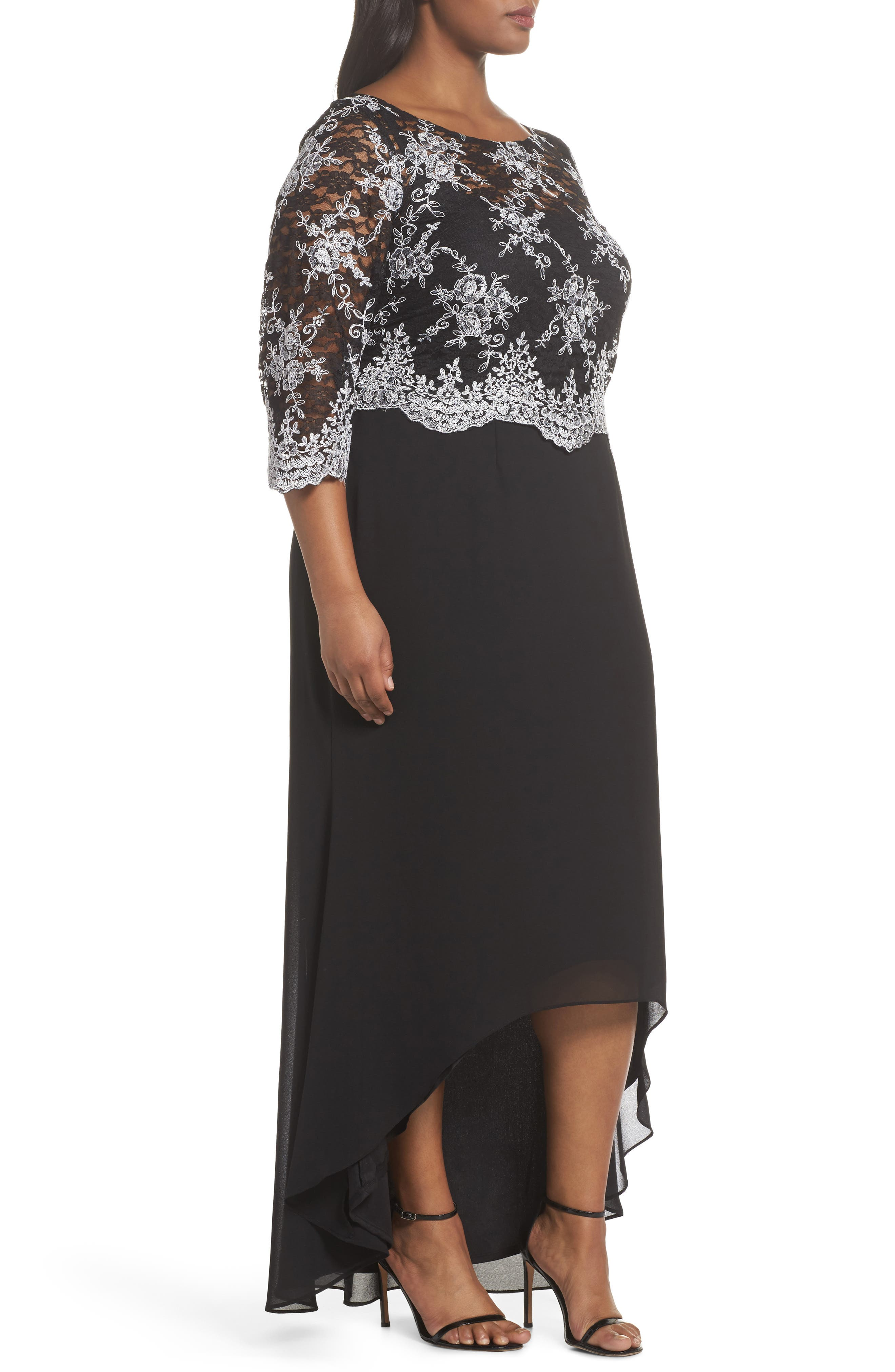 Embroidered Lace Bodice High/Low Gown,                             Alternate thumbnail 3, color,                             BLACK/ WHITE