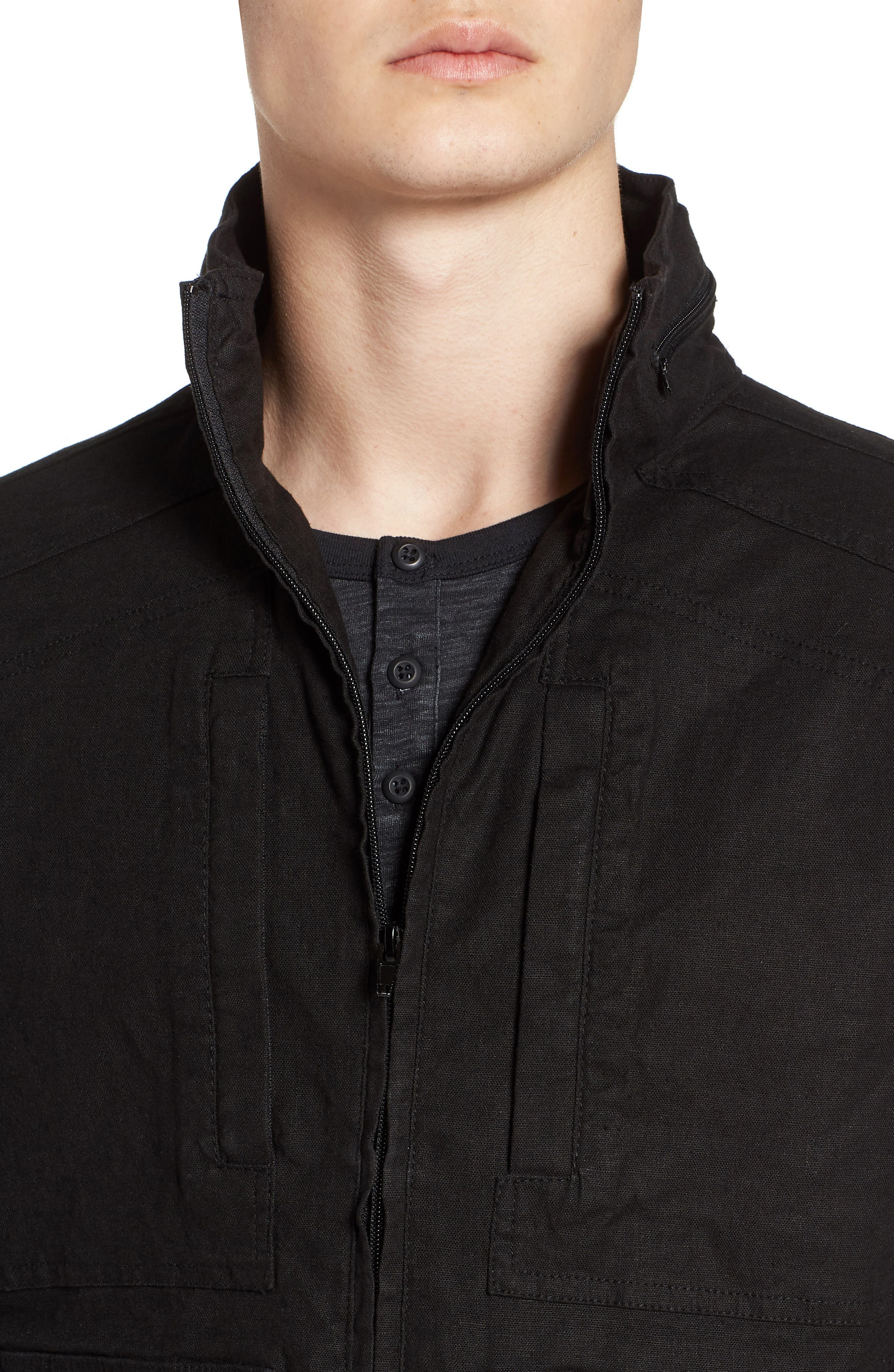 Linen Blend Zip Jacket,                             Alternate thumbnail 4, color,