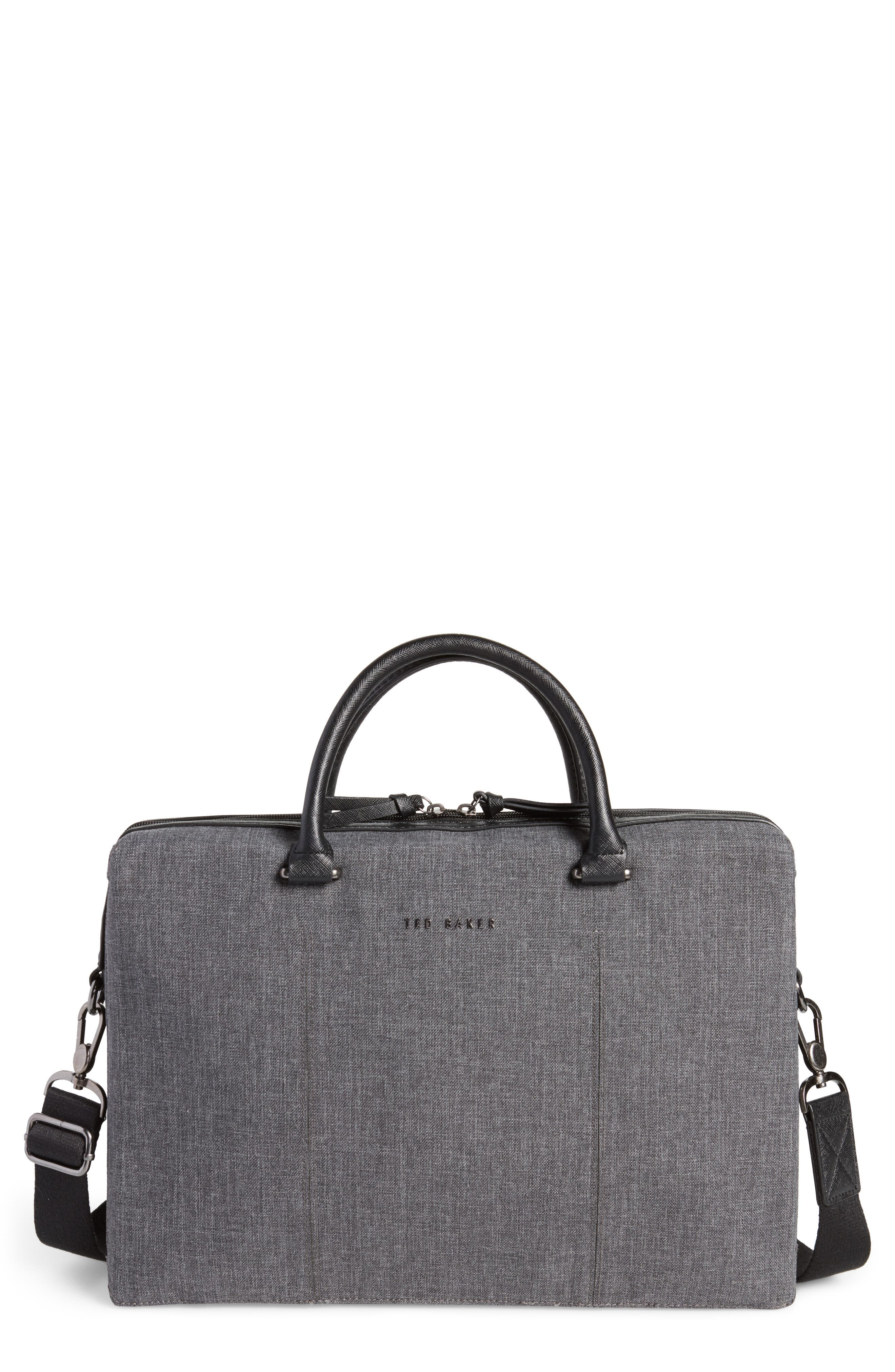 TED BAKER LONDON Citrice Document Briefcase, Main, color, CHARCOAL