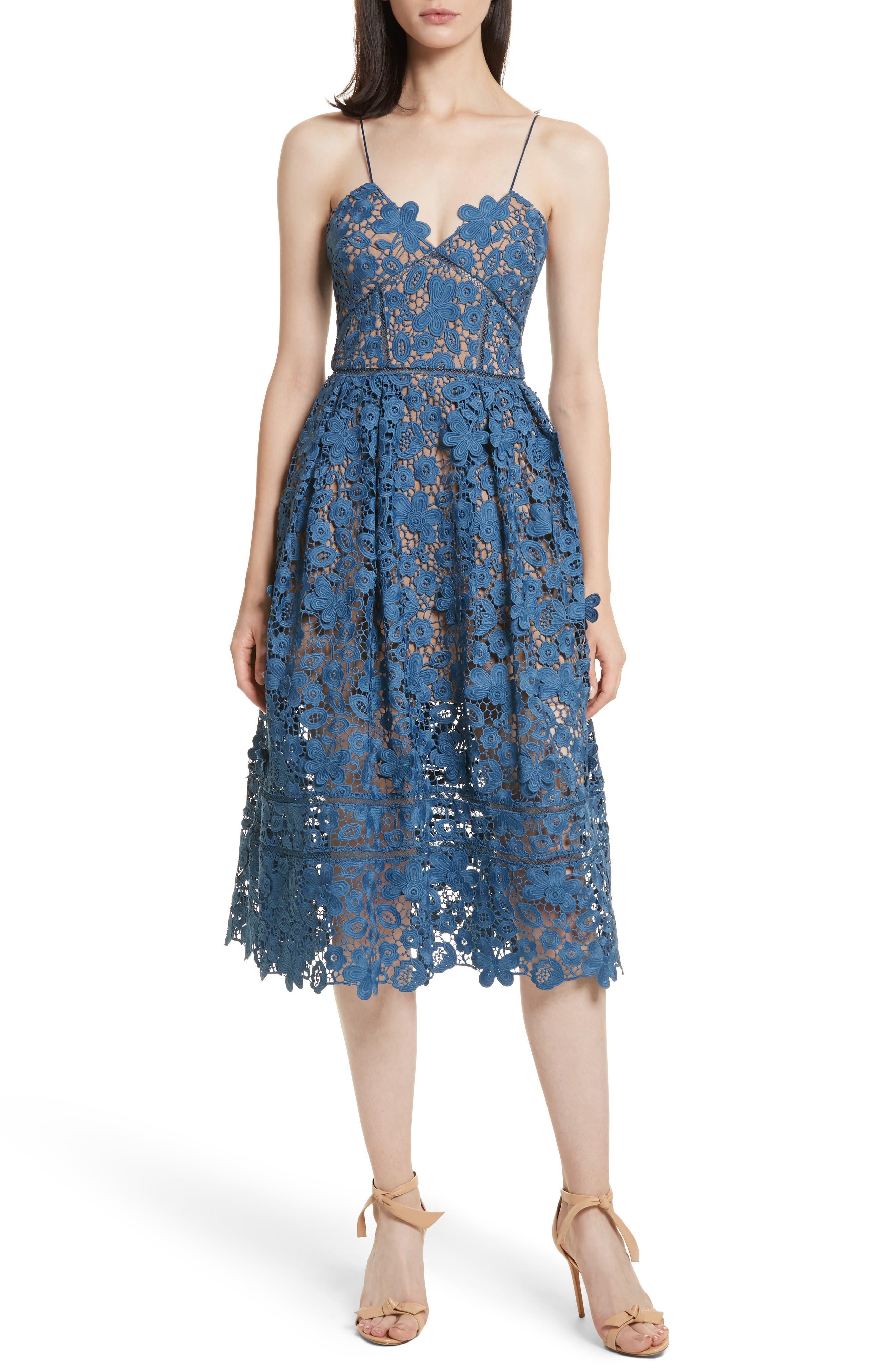 Azaelea 3D Lace Fit & Flare Dress,                         Main,                         color, SLATE BLUE