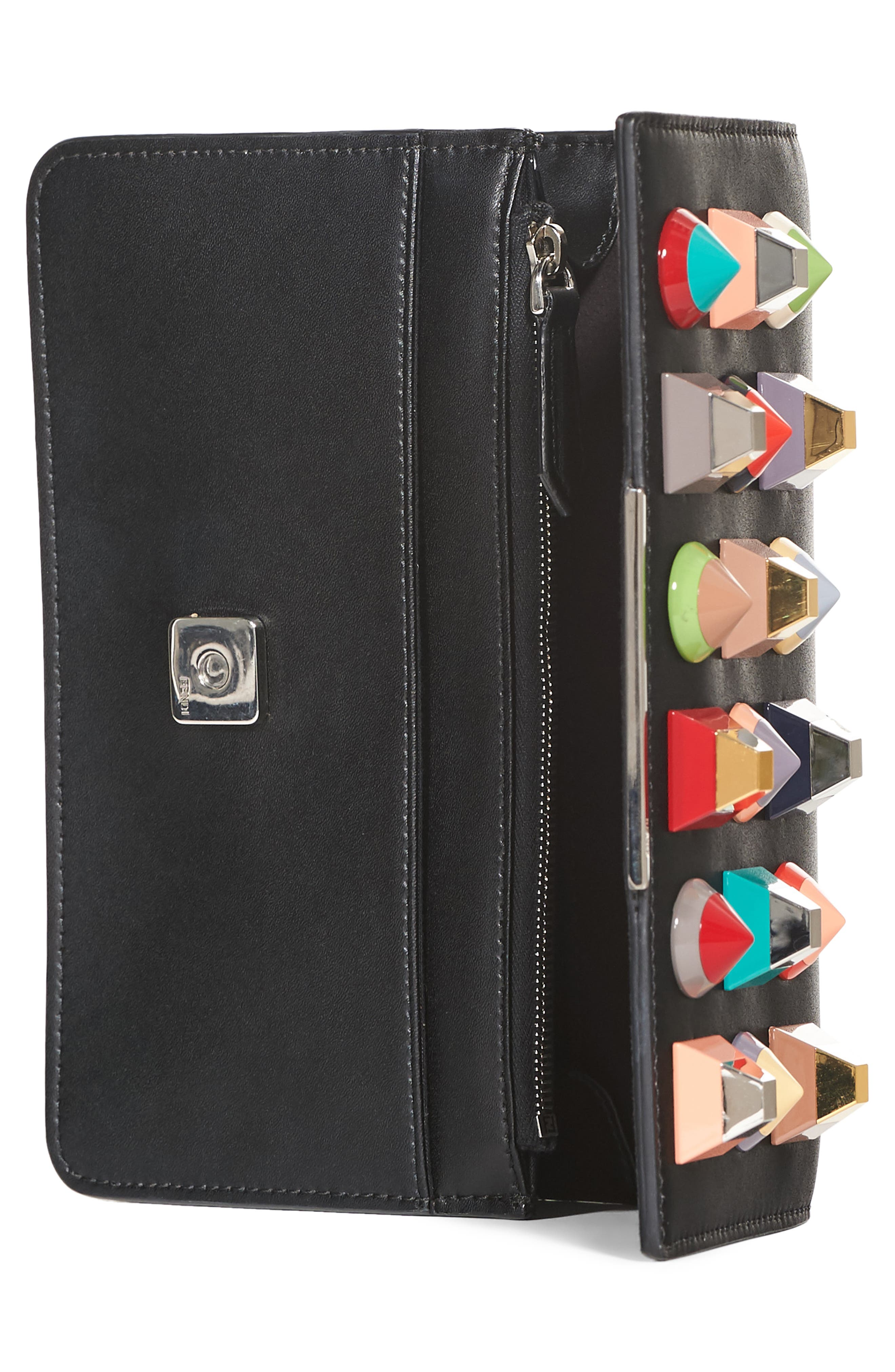 Rainbow Studded Leather Tube Wallet on a Chain,                             Alternate thumbnail 4, color,                             BLACK MULTI