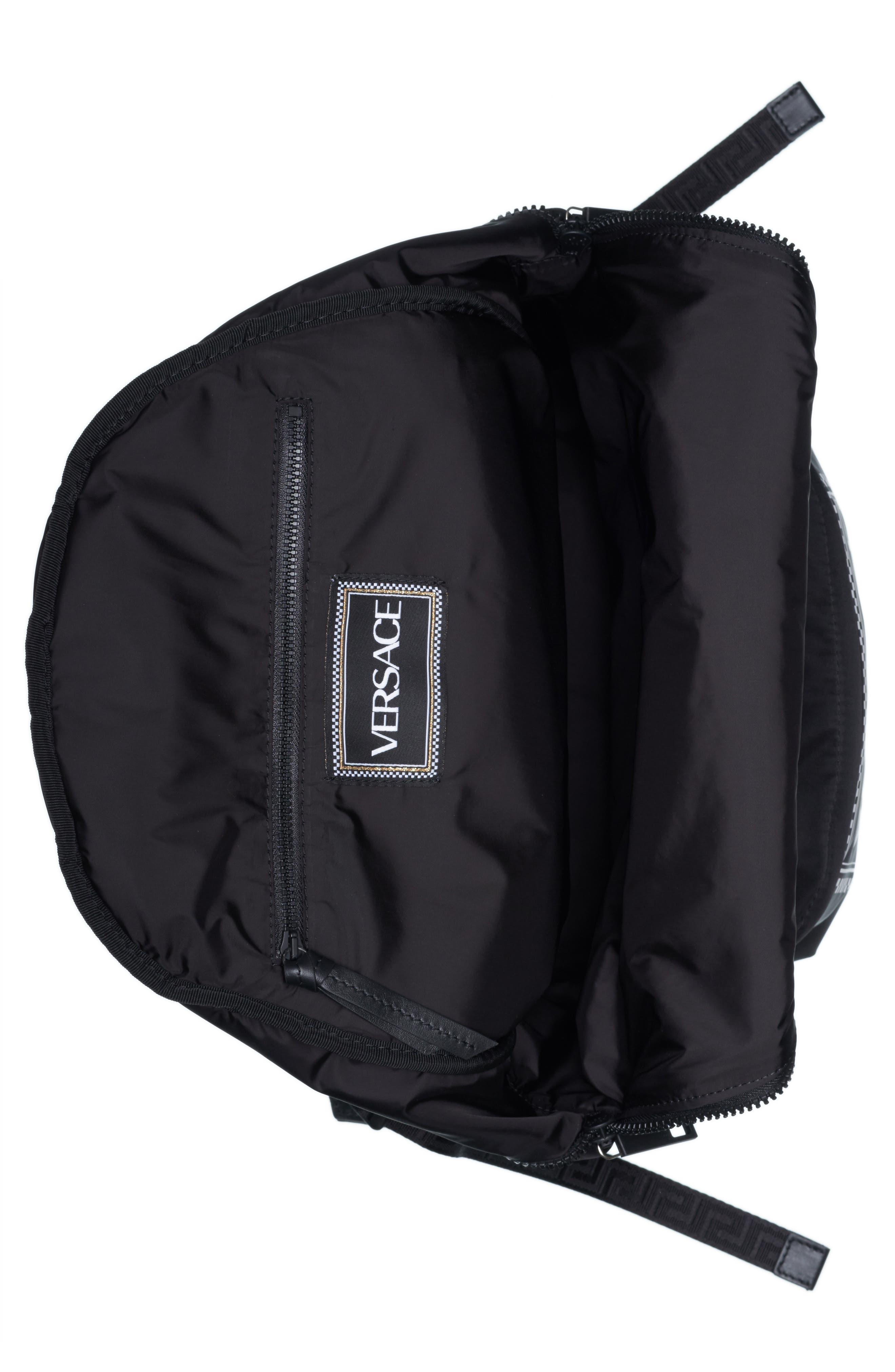 Logo Nylon Backpack,                             Alternate thumbnail 4, color,                             BLACK/ WHITE
