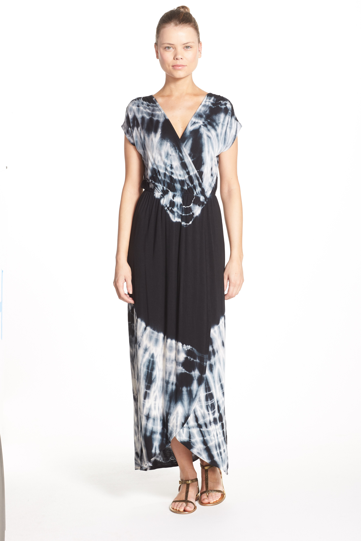 Tie Dye Faux Wrap Maxi Dress,                             Alternate thumbnail 3, color,                             001