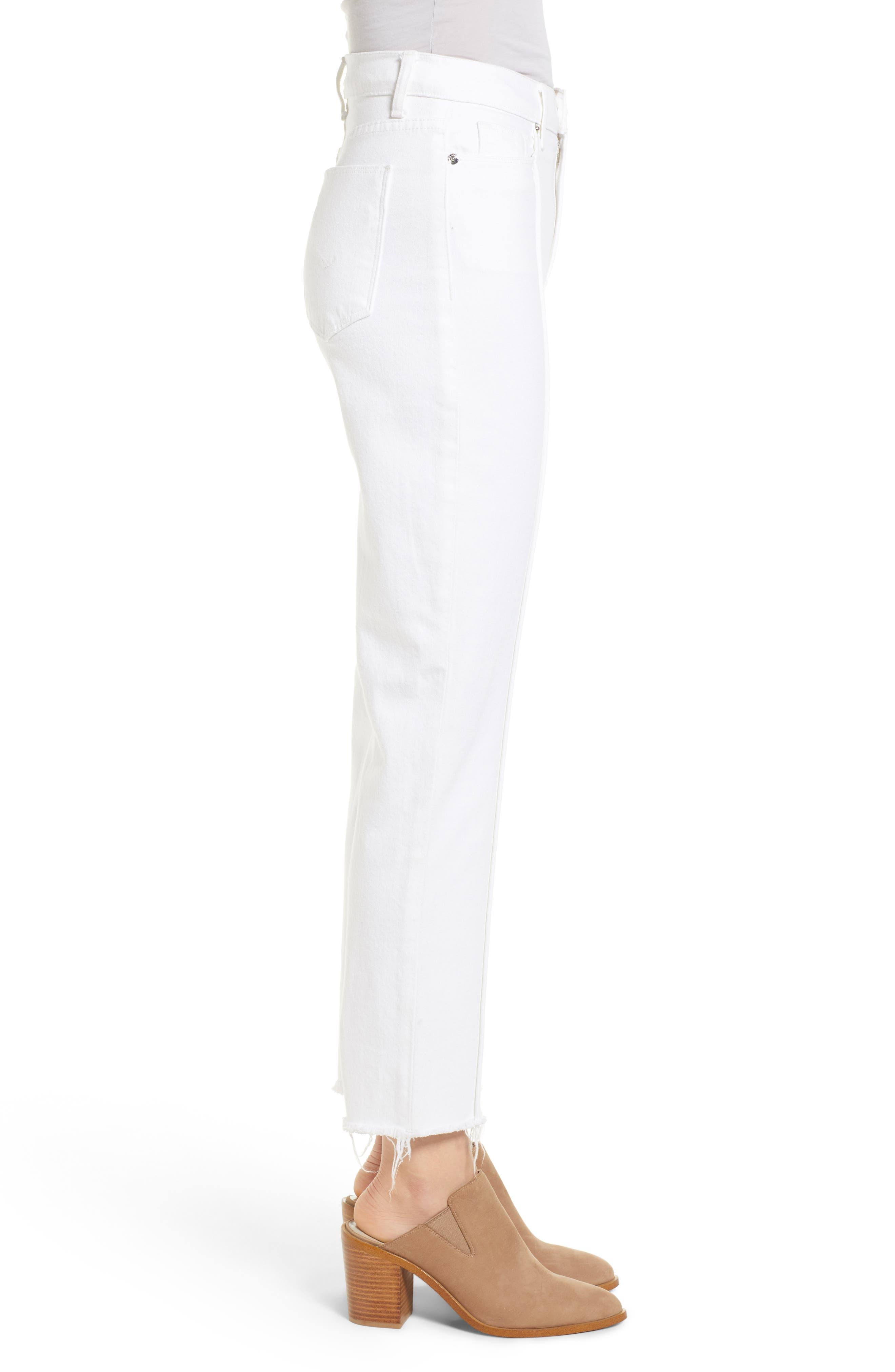 Zoeey Pintuck High Waist Crop Straight Leg Jeans,                             Alternate thumbnail 3, color,                             120