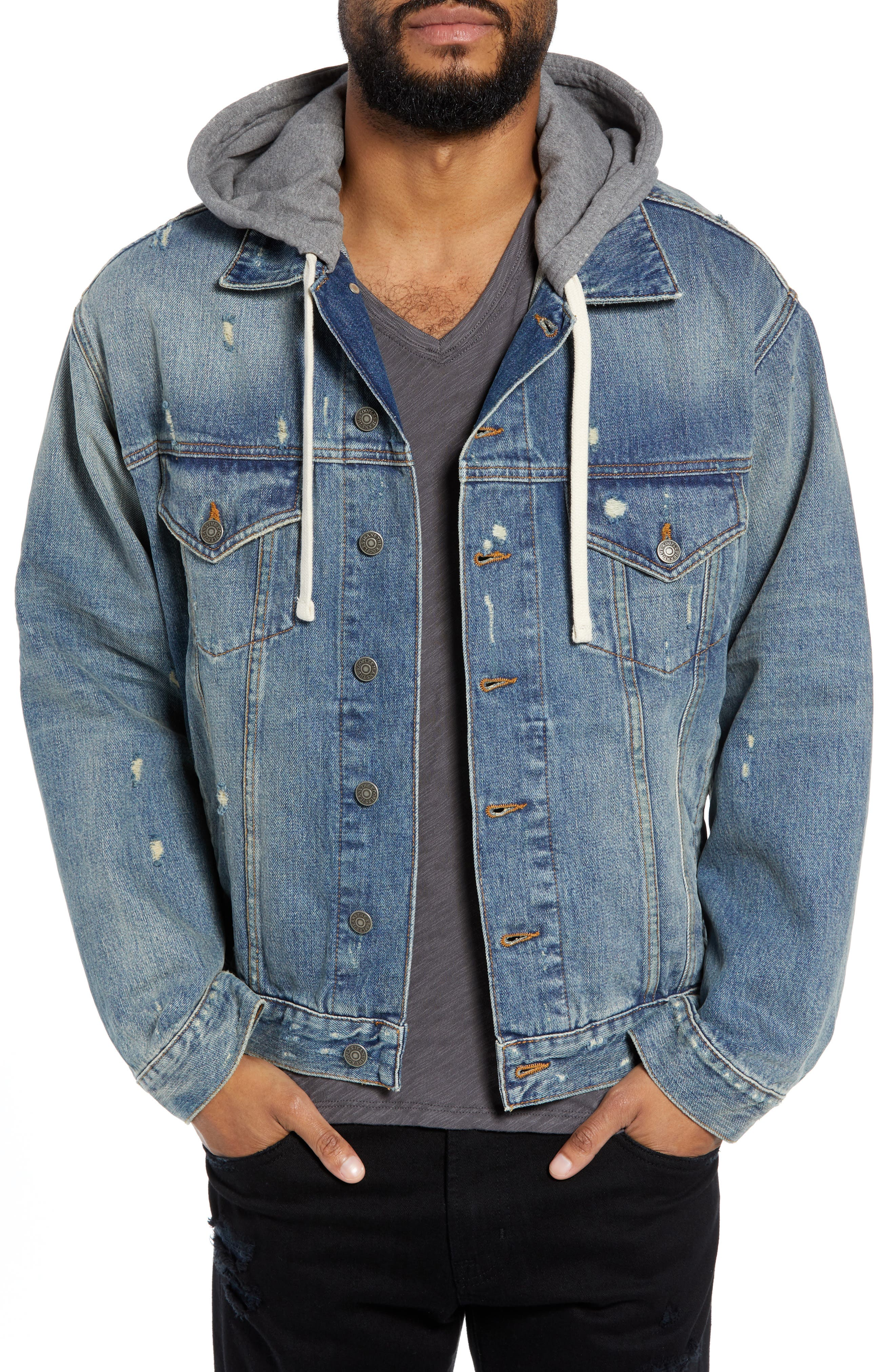 Oversized Distressed Denim Jacket with Hood,                             Main thumbnail 1, color,                             420