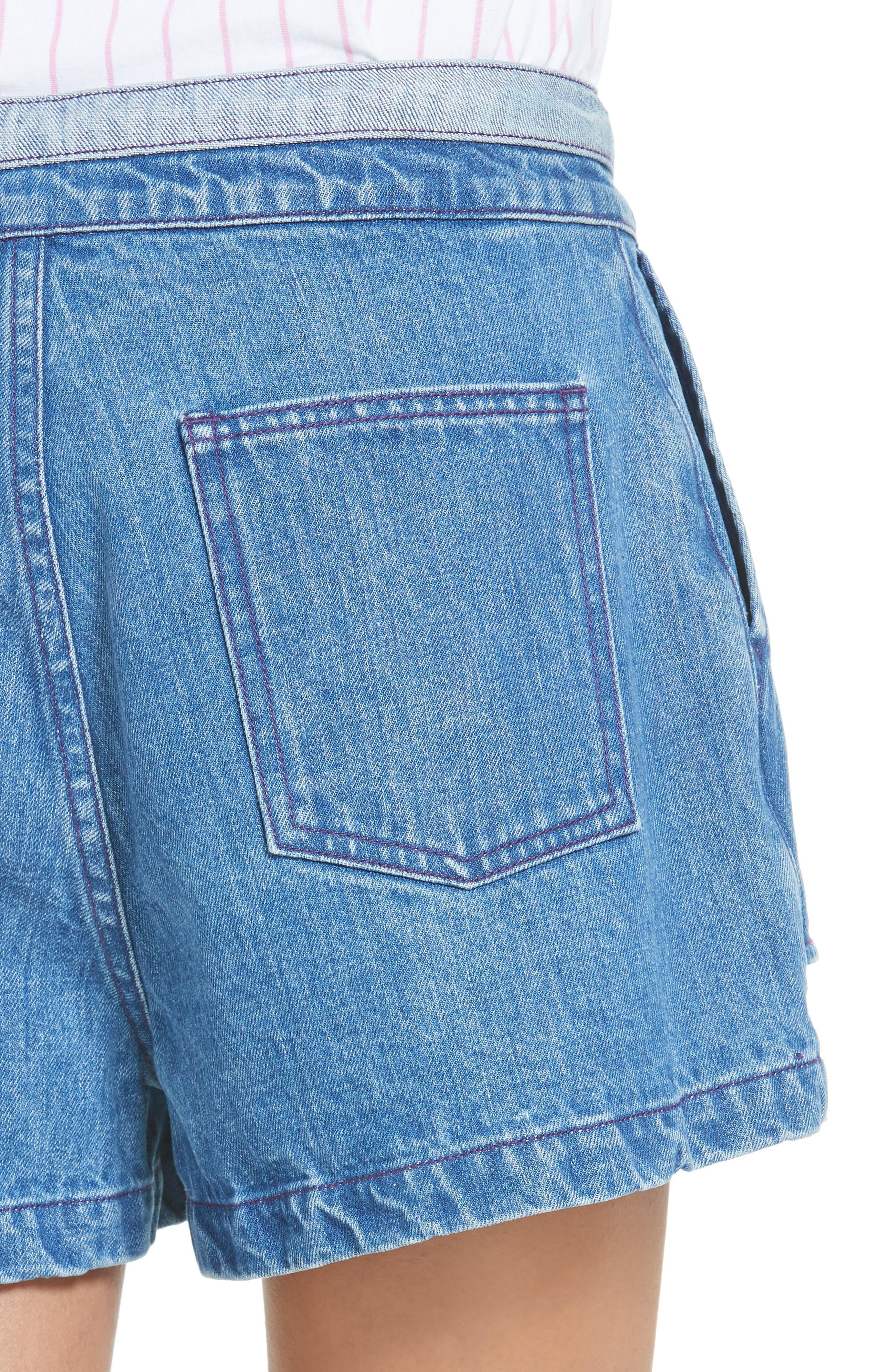 Inside Out Denim Shorts,                             Alternate thumbnail 4, color,                             420