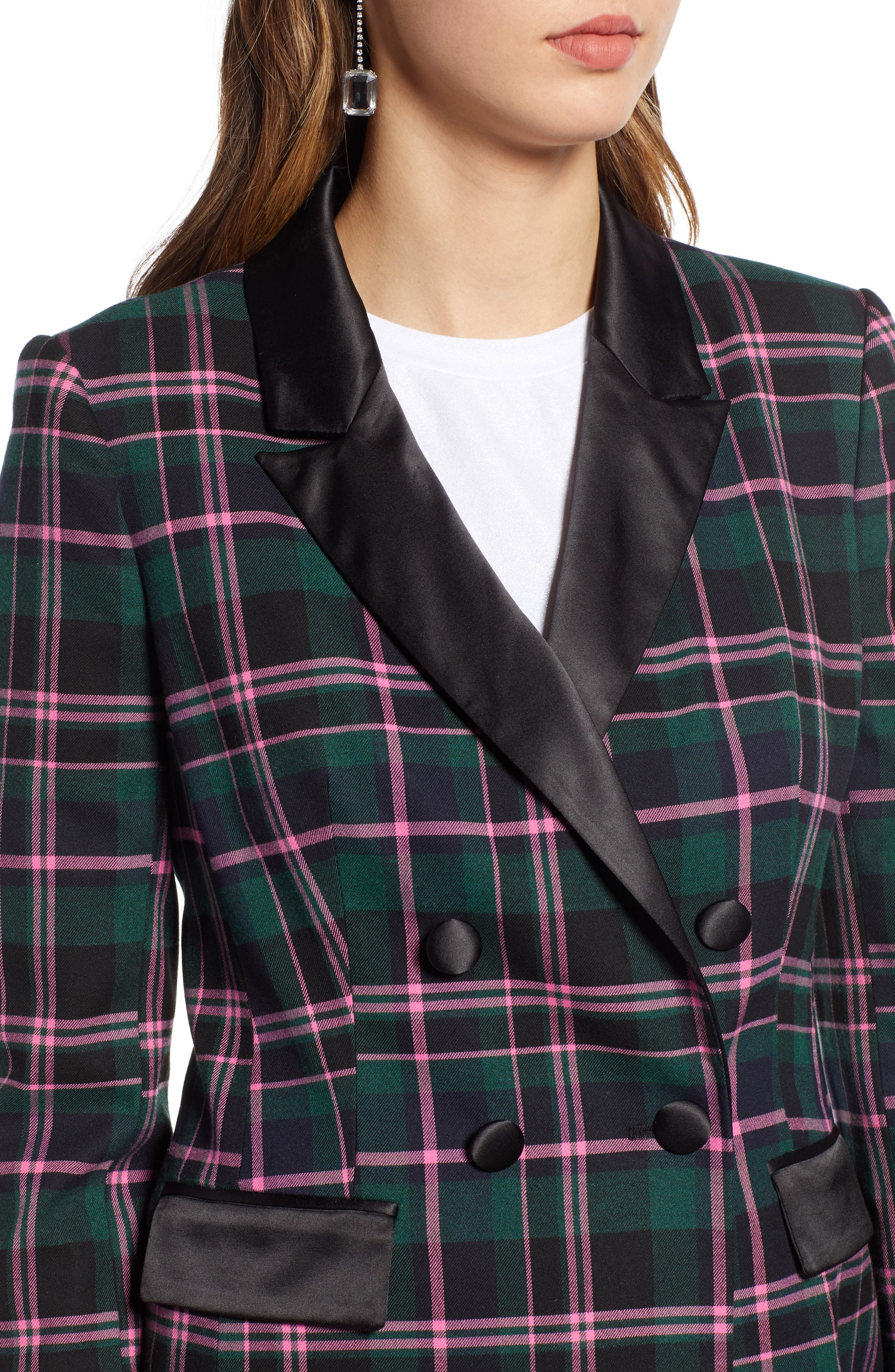 Double Breasted Plaid Blazer,                             Alternate thumbnail 4, color,                             301