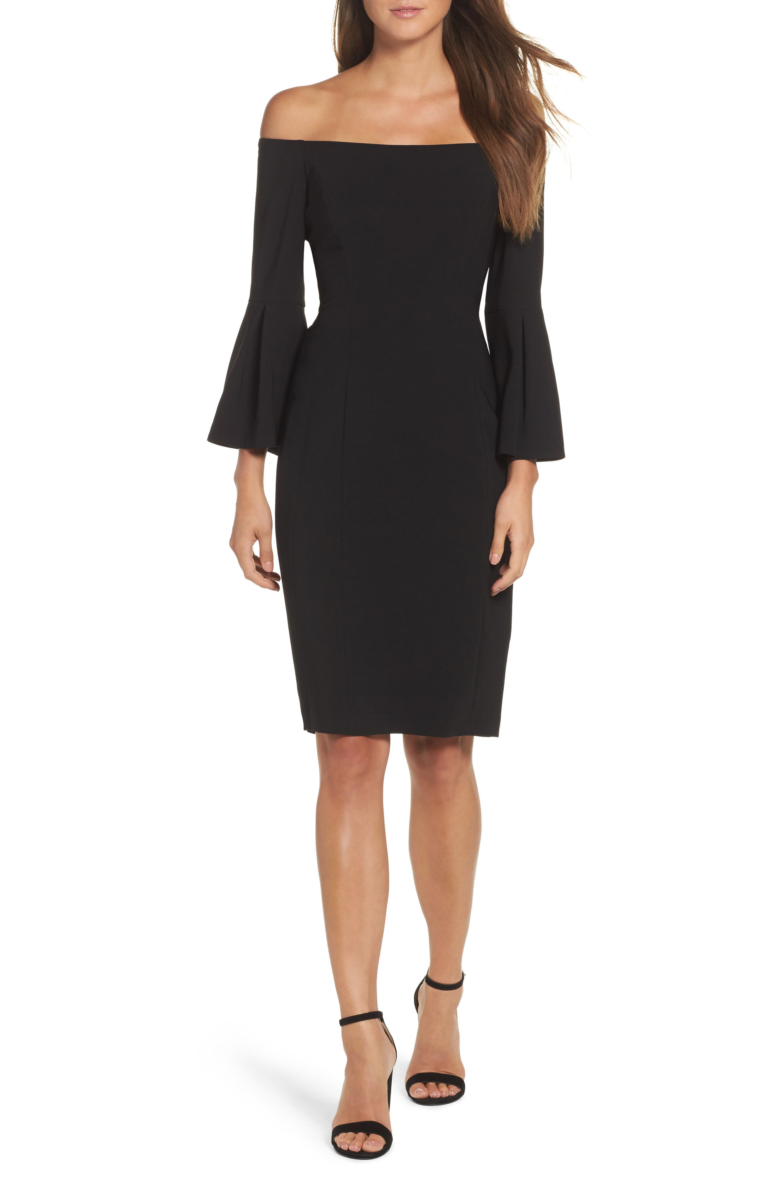 VINCE CAMUTO Off the Shoulder Bell Sleeve Sheath Dress, Main, color, 001