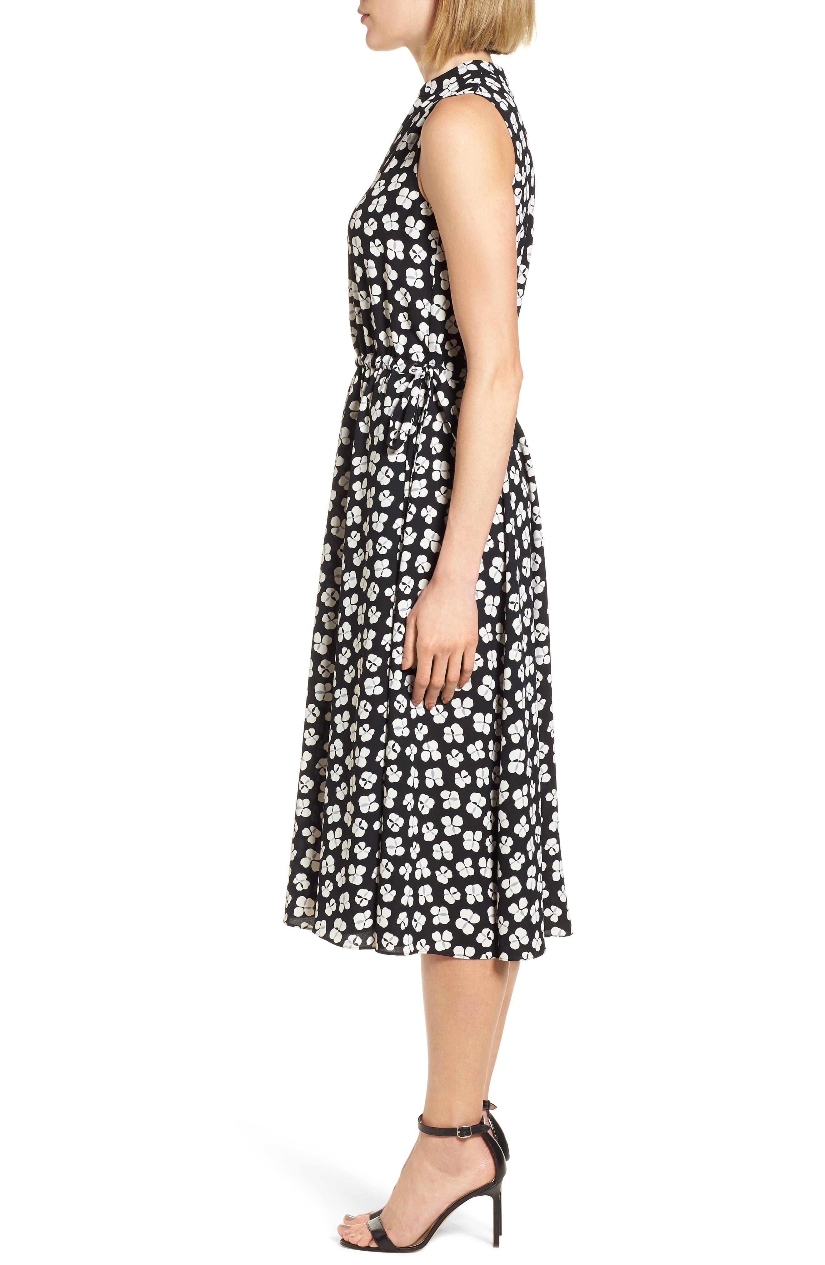 Zuma Petal Drawstring Midi Dress,                             Alternate thumbnail 3, color,                             001