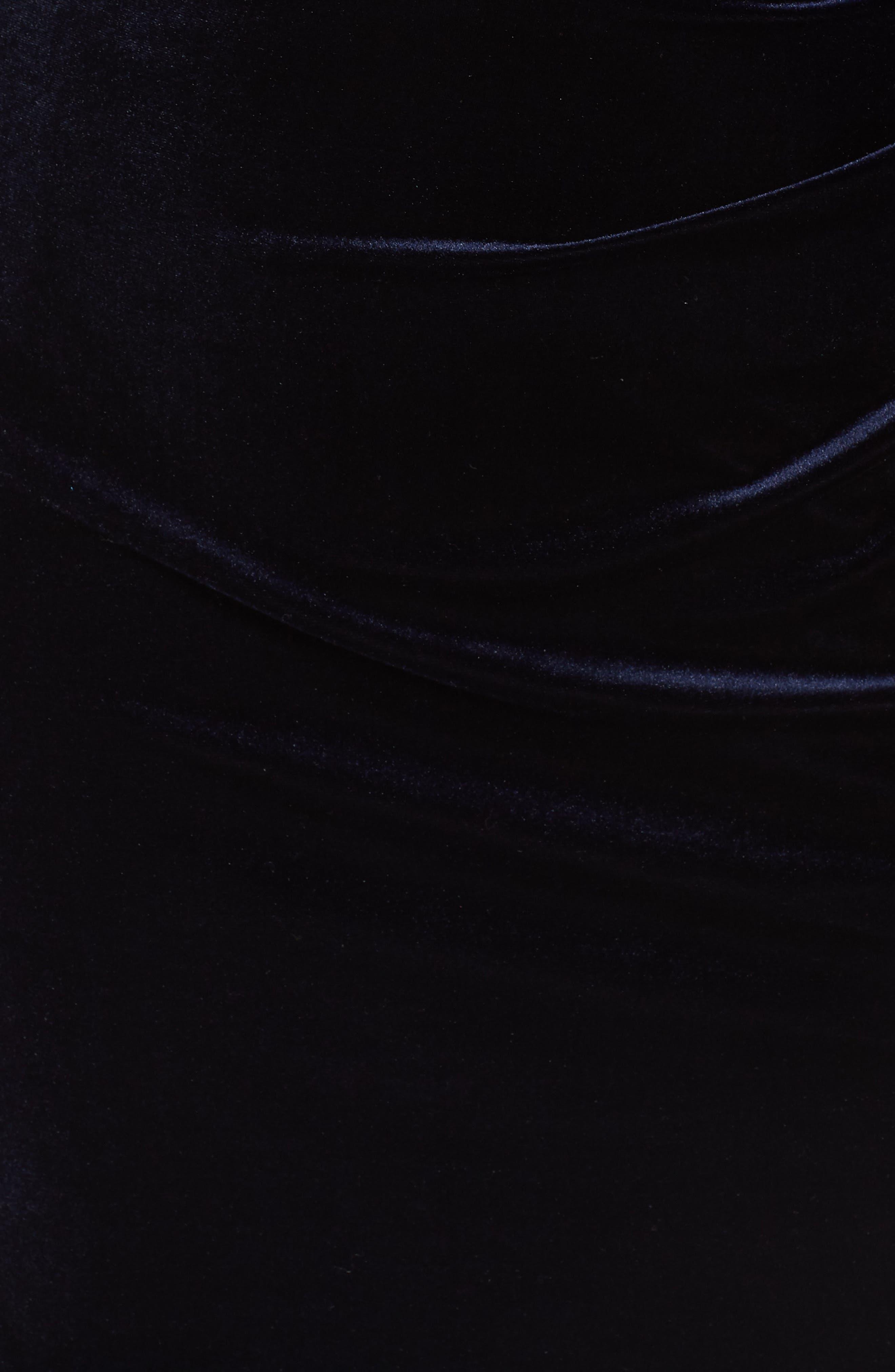 Stretch Velvet Sheath Dress,                             Alternate thumbnail 6, color,                             NAVY