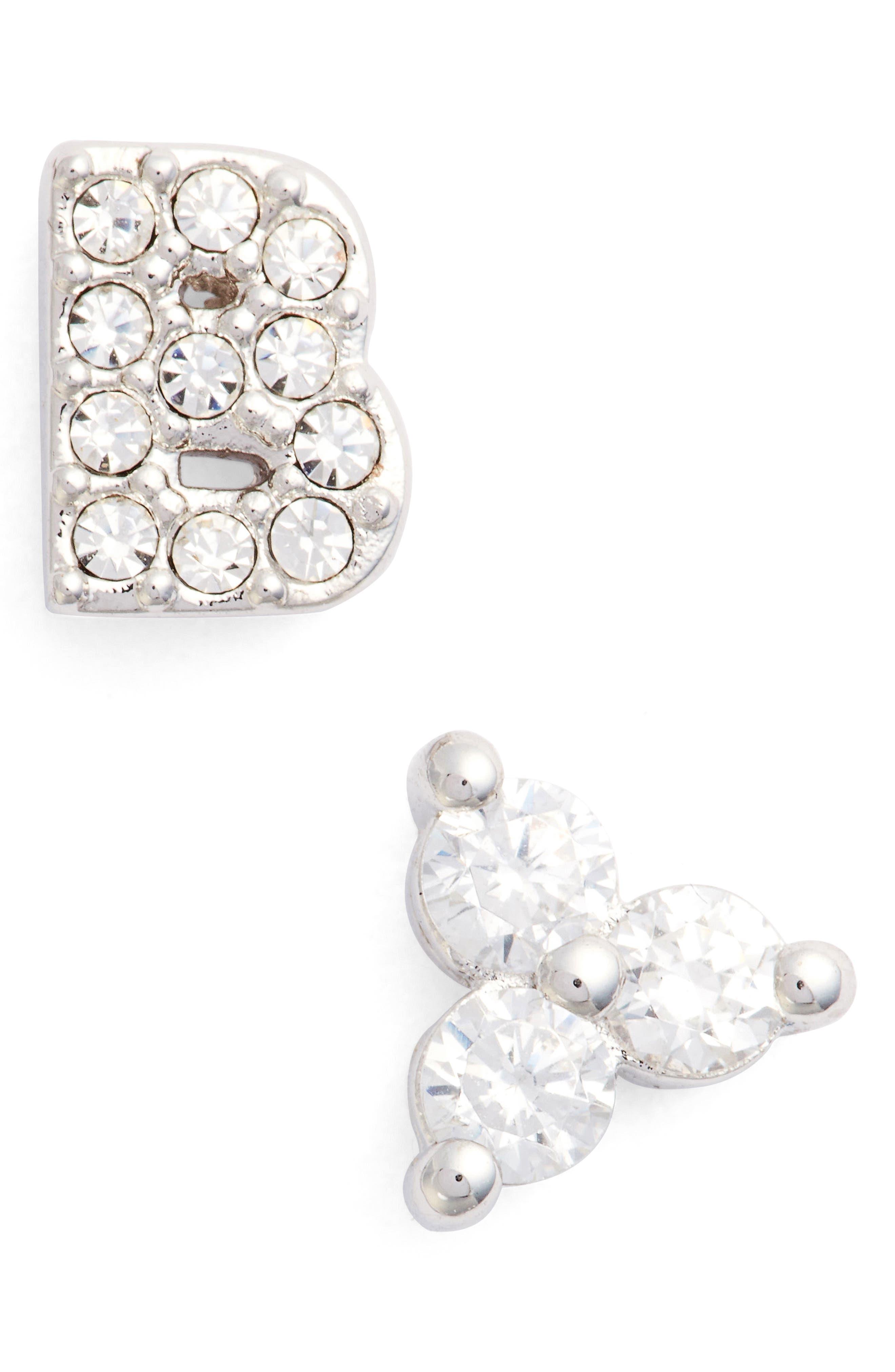 NADRI,                             Initial Mismatched Stud Earrings,                             Main thumbnail 1, color,                             SILVER - B