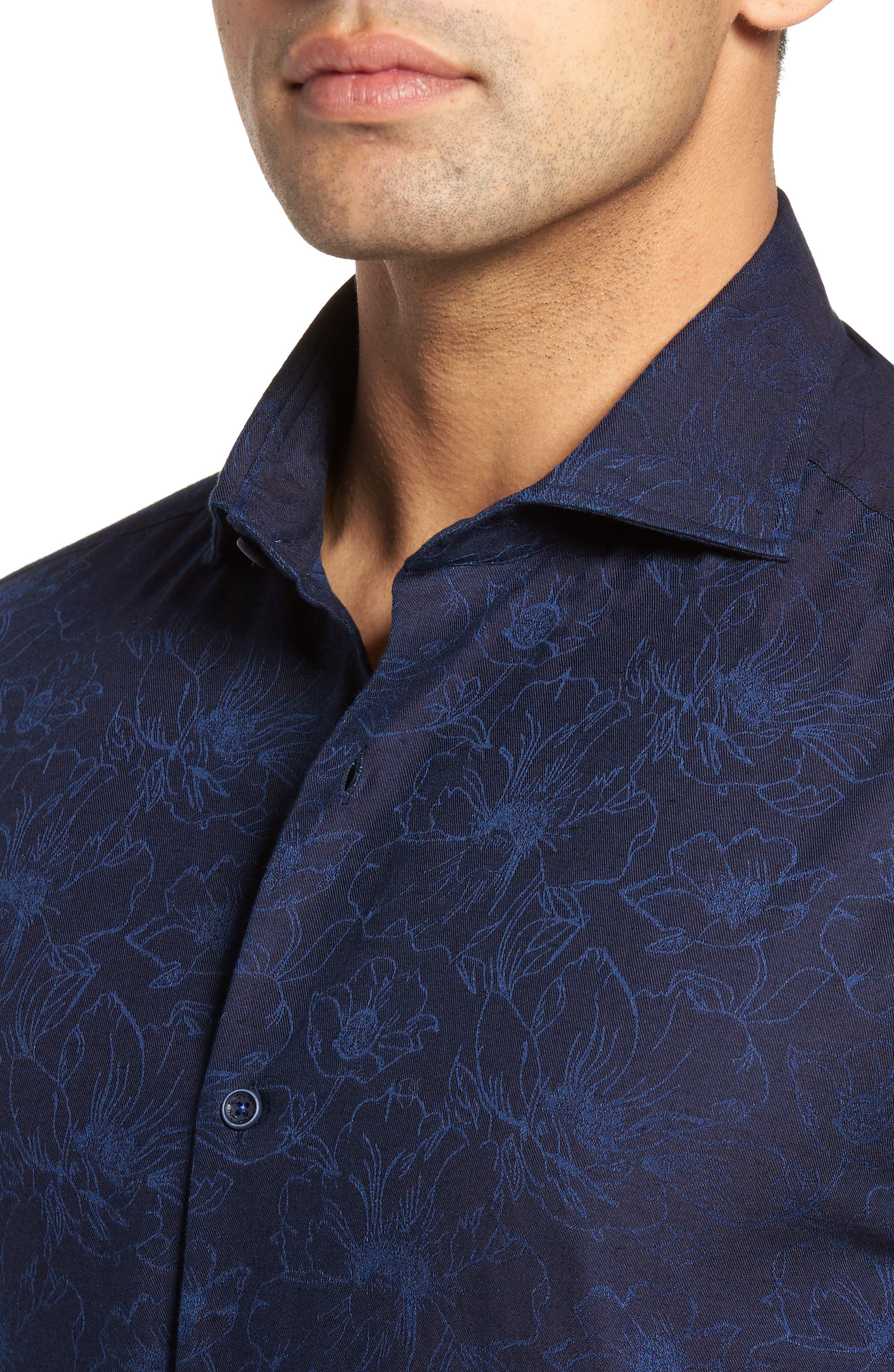 Slim Fit Floral Jacquard Sport Shirt,                             Alternate thumbnail 4, color,                             408