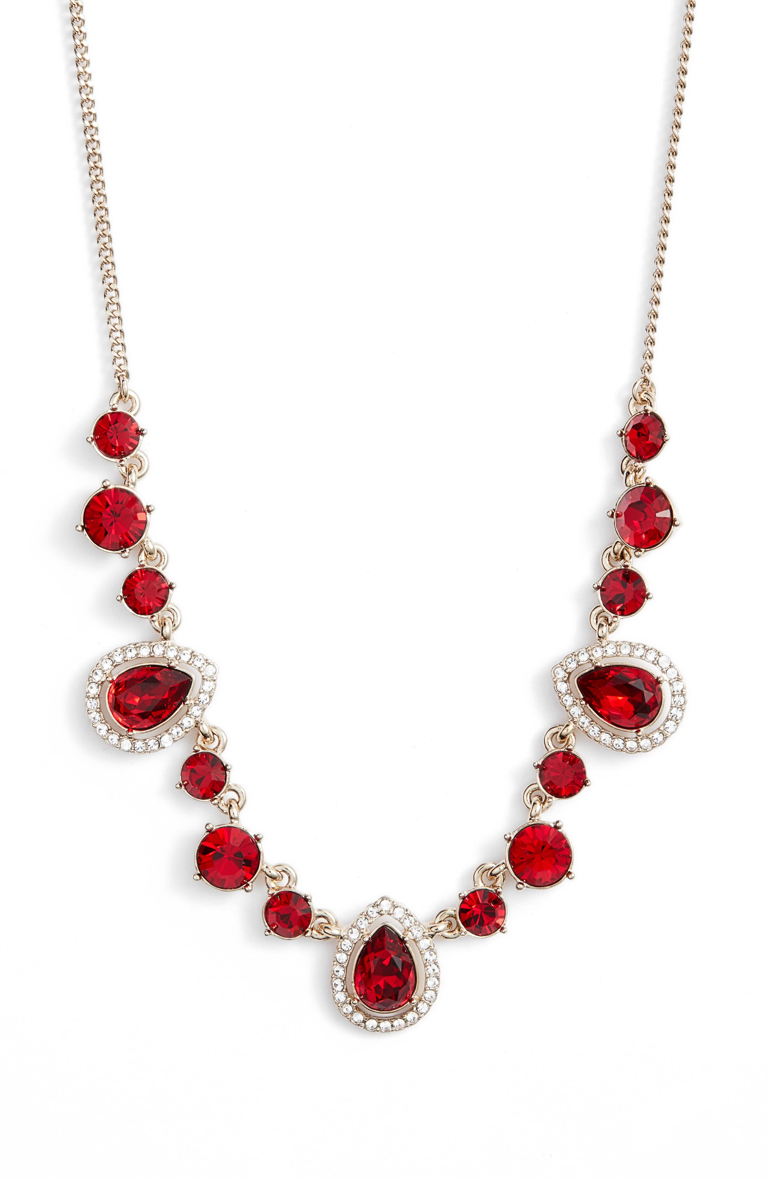 Teardrop Crystal Frontal Necklace,                             Main thumbnail 1, color,                             RED/ GOLD