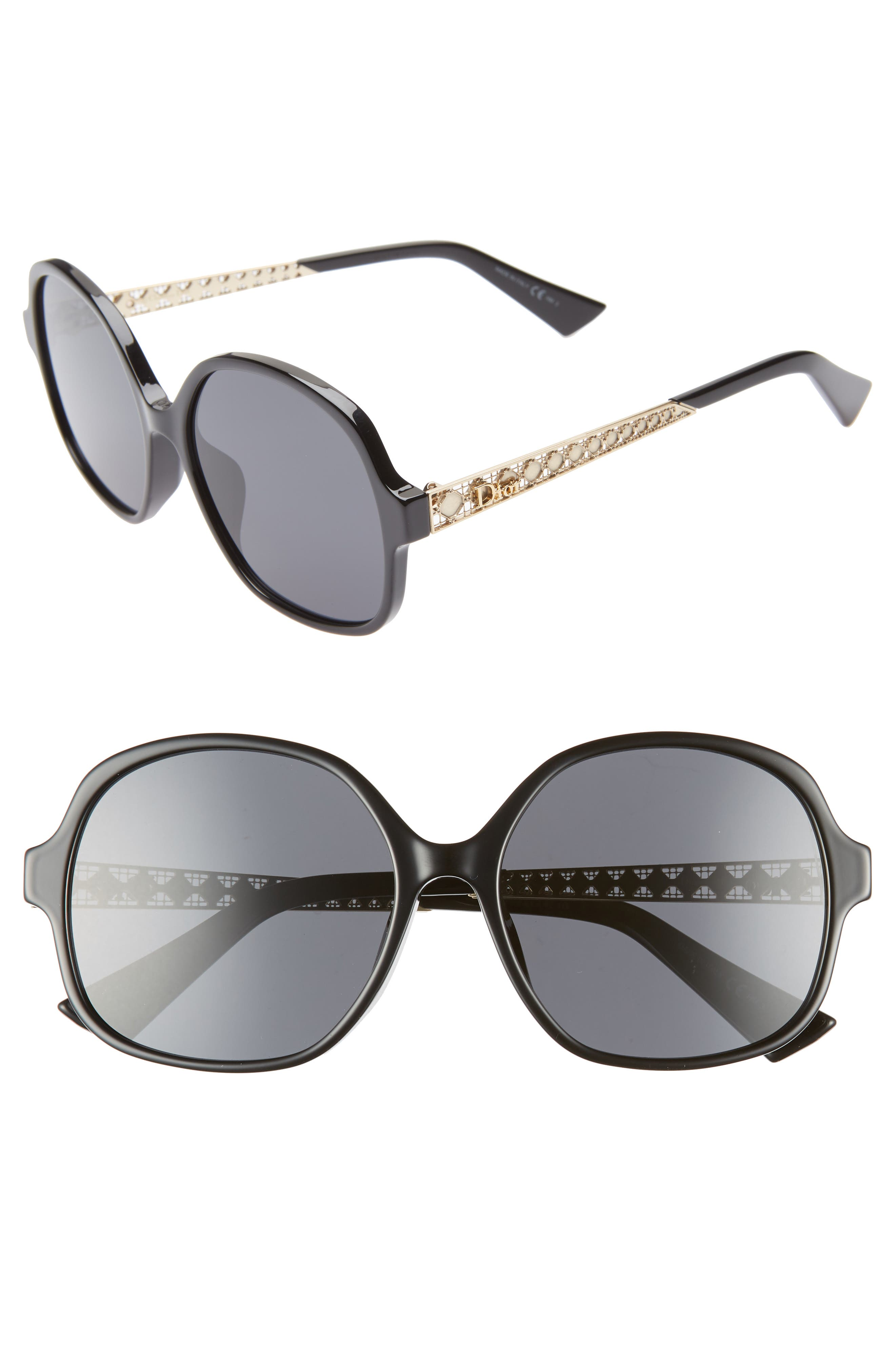 DIOR,                             Diorama 58mm Special Fit Round Sunglasses,                             Main thumbnail 1, color,                             BLACK
