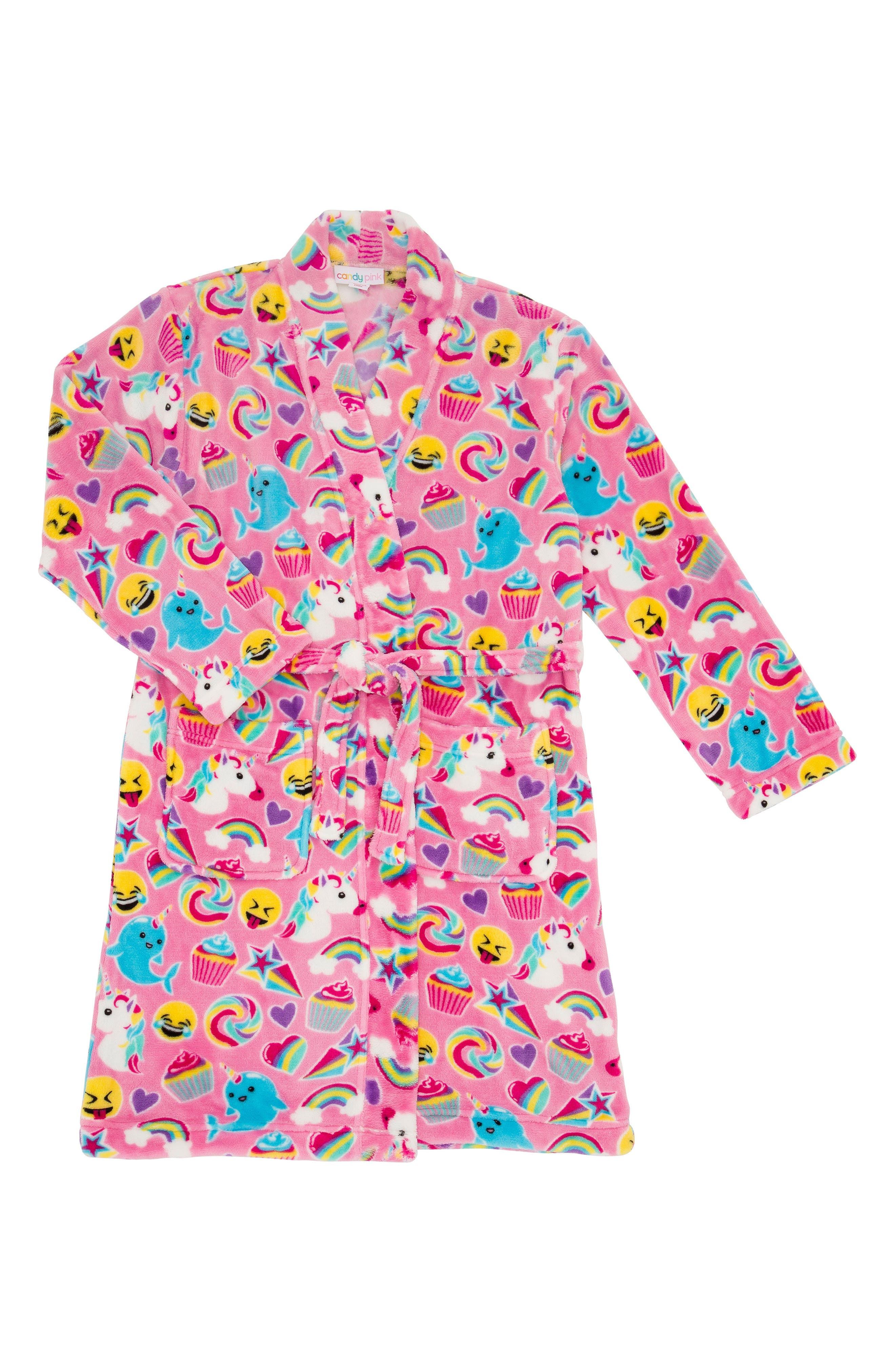Emoji Fleece Robe,                         Main,                         color, PINK