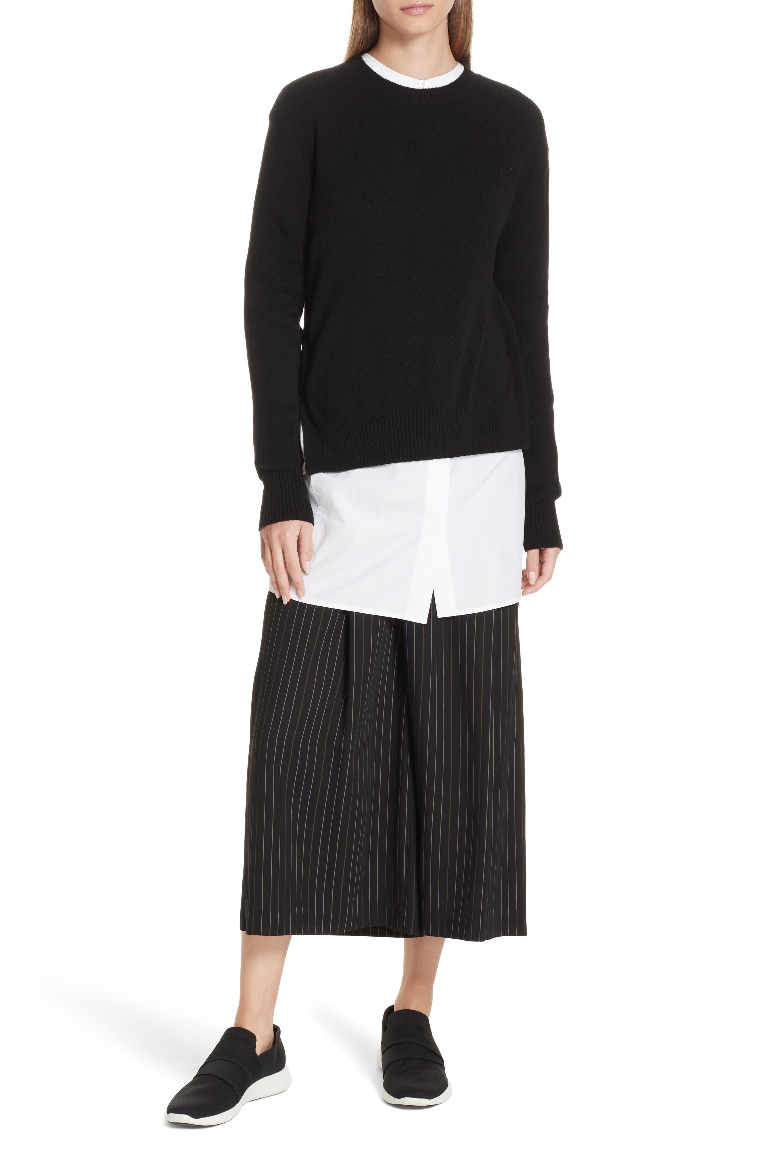 Asymmetrical Cashmere Sweater,                             Alternate thumbnail 7, color,                             BLACK