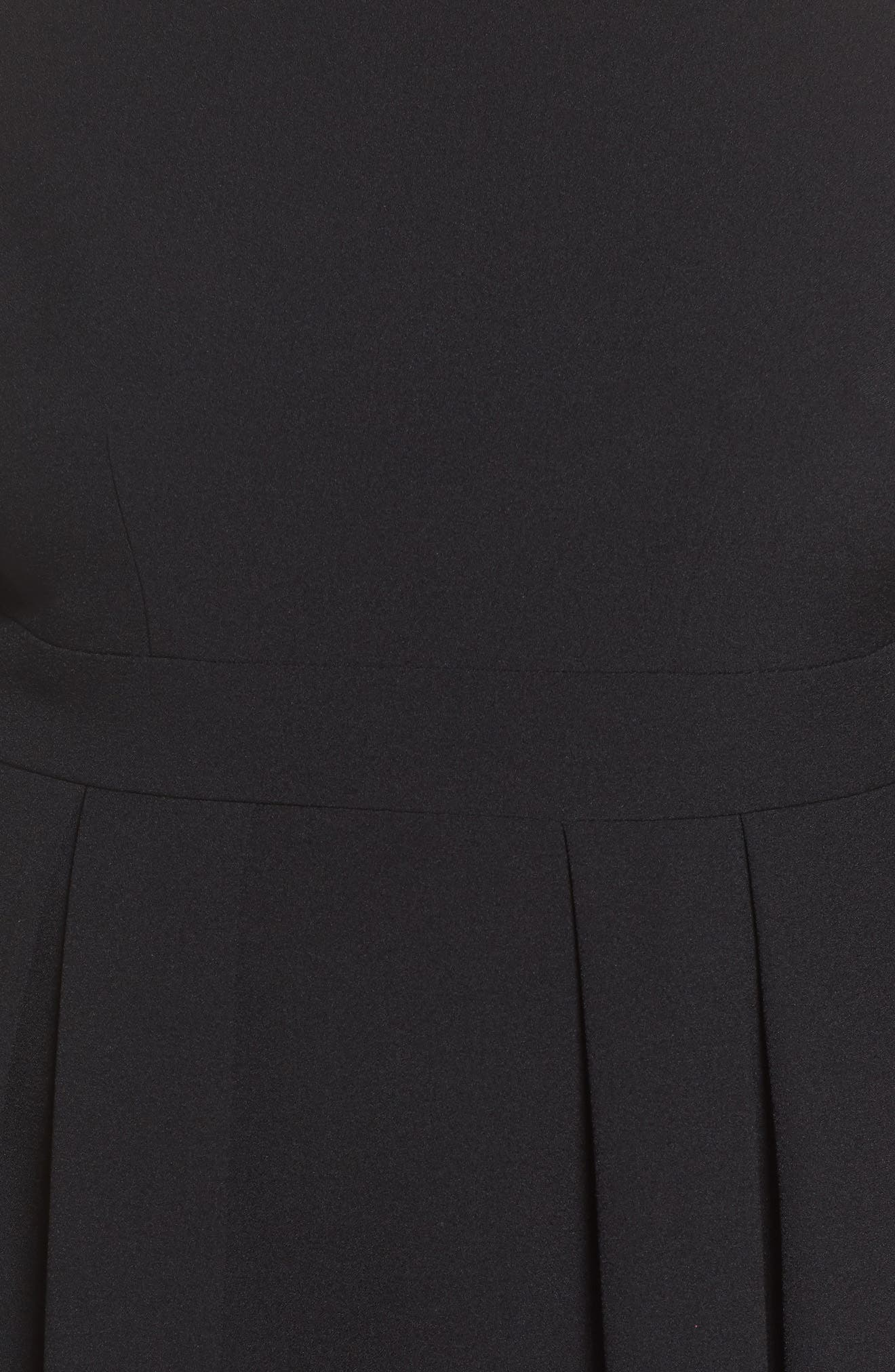 Bell Sleeve Fit & Flare Dress,                             Alternate thumbnail 6, color,                             BLACK