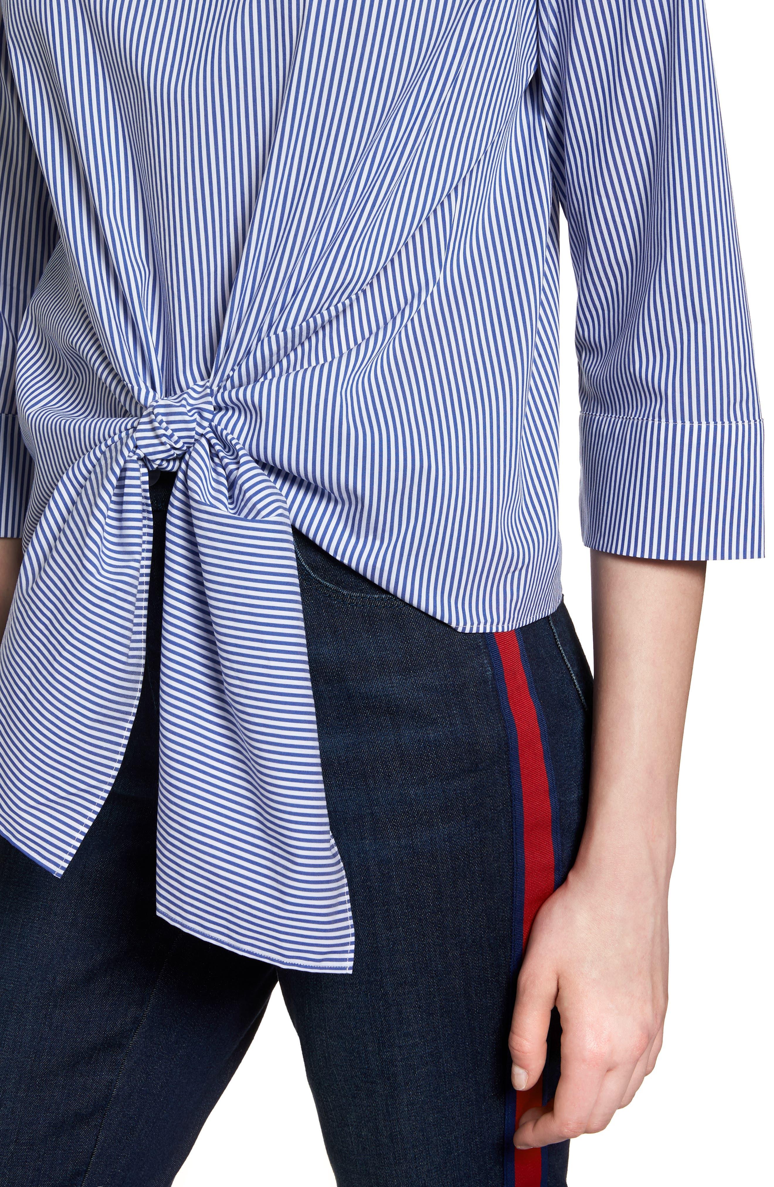 Tie Front Stripe Blouse,                             Alternate thumbnail 4, color,                             420