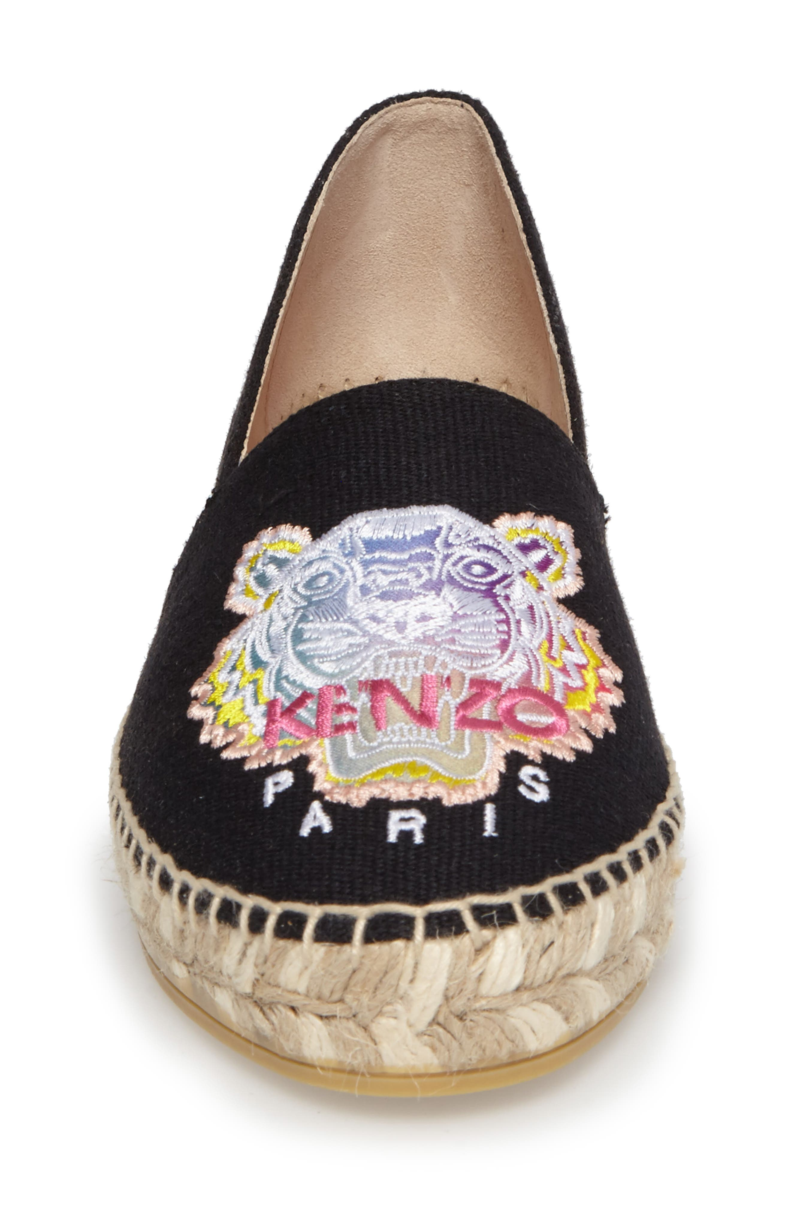 Rainbow Tiger Embroidered Espadrille,                             Alternate thumbnail 4, color,                             001